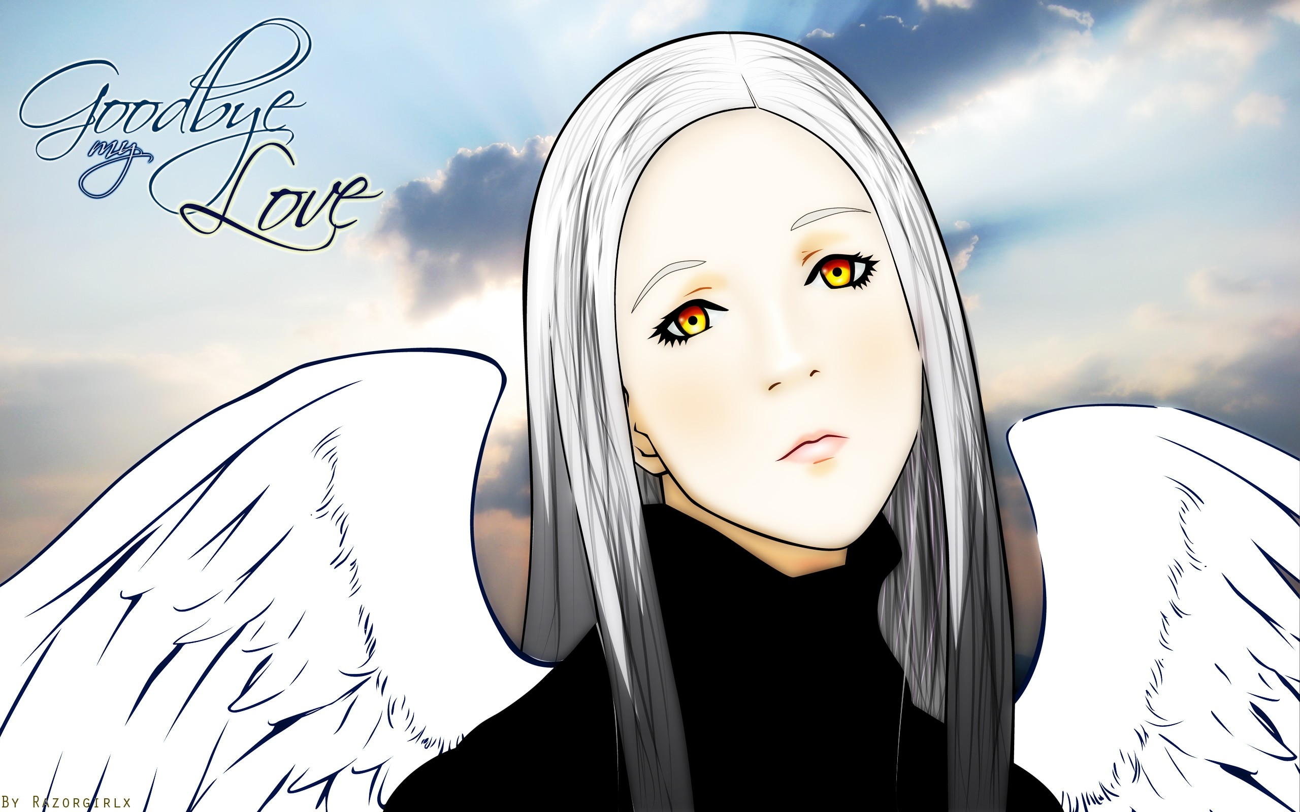 Res: 2560x1600, Wallpaper Ergo proxy, Goodbye my love, Blonde, Eyes, Wings HD, Picture,  Image