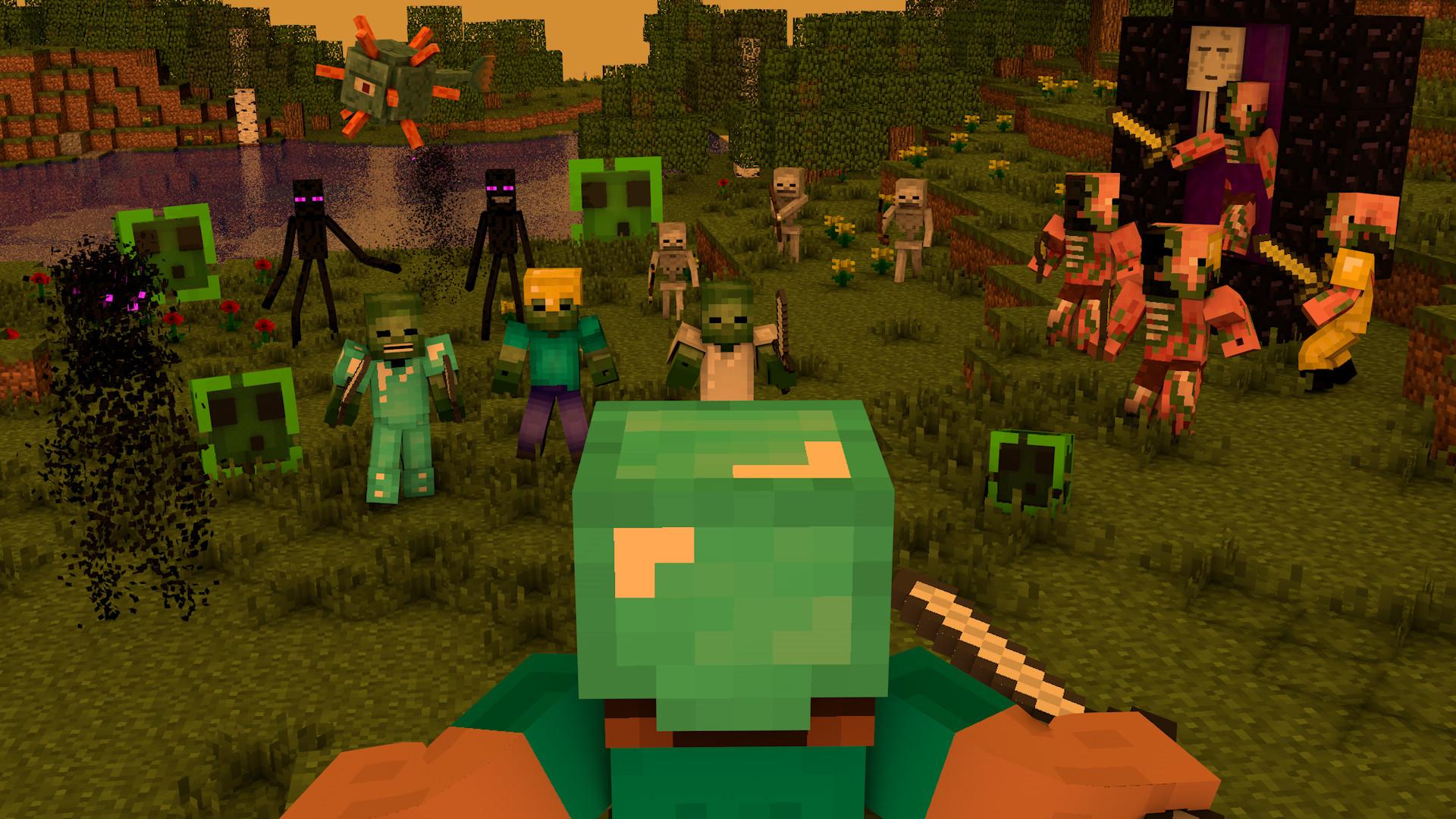 Res: 1920x1080, Computerspiele - Minecraft Mojang Computerspiele Zombie Pigman (Minecraft)  Steve (Minecraft) Skelett Zombie