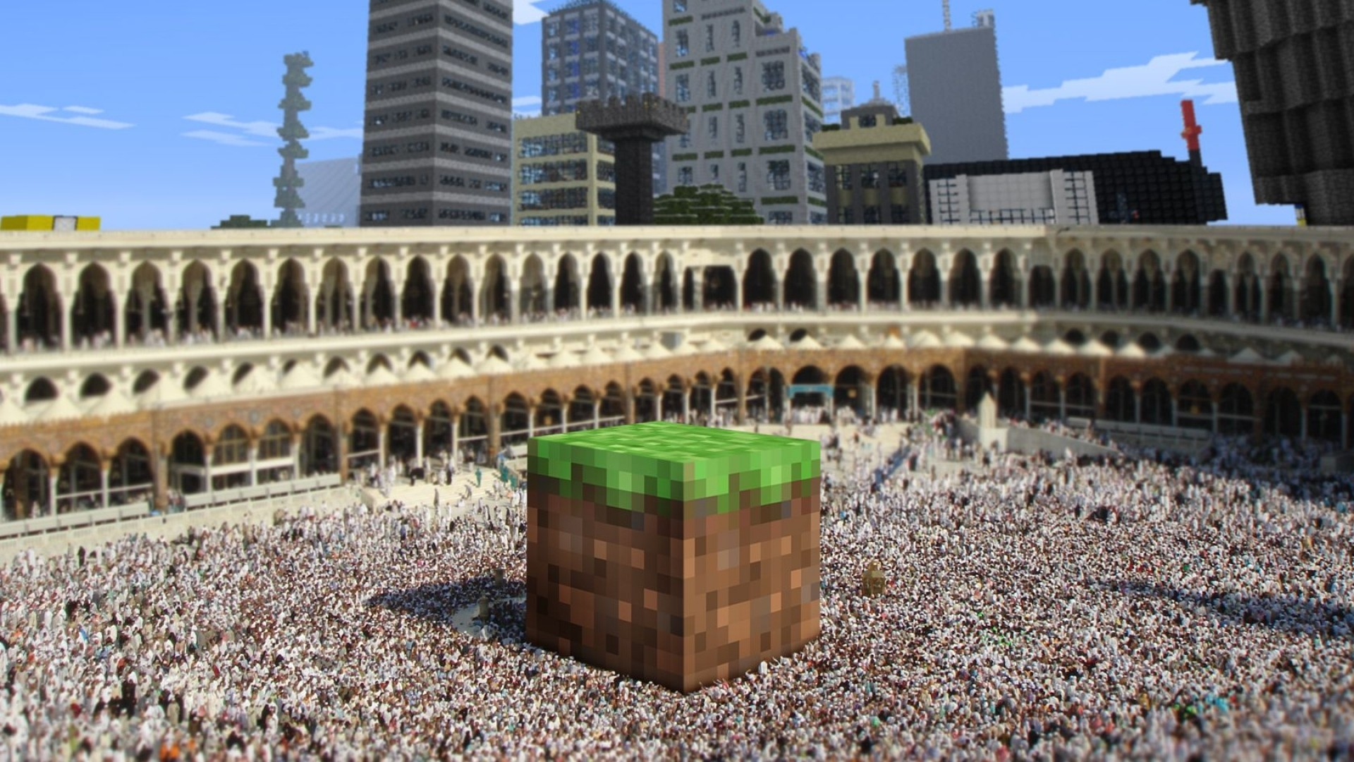 Res: 1920x1080, minecraft background cube city arena crowd hd background wallpapers free  amazing cool smart phone 4k high definition 1920×1080 Wallpaper HD