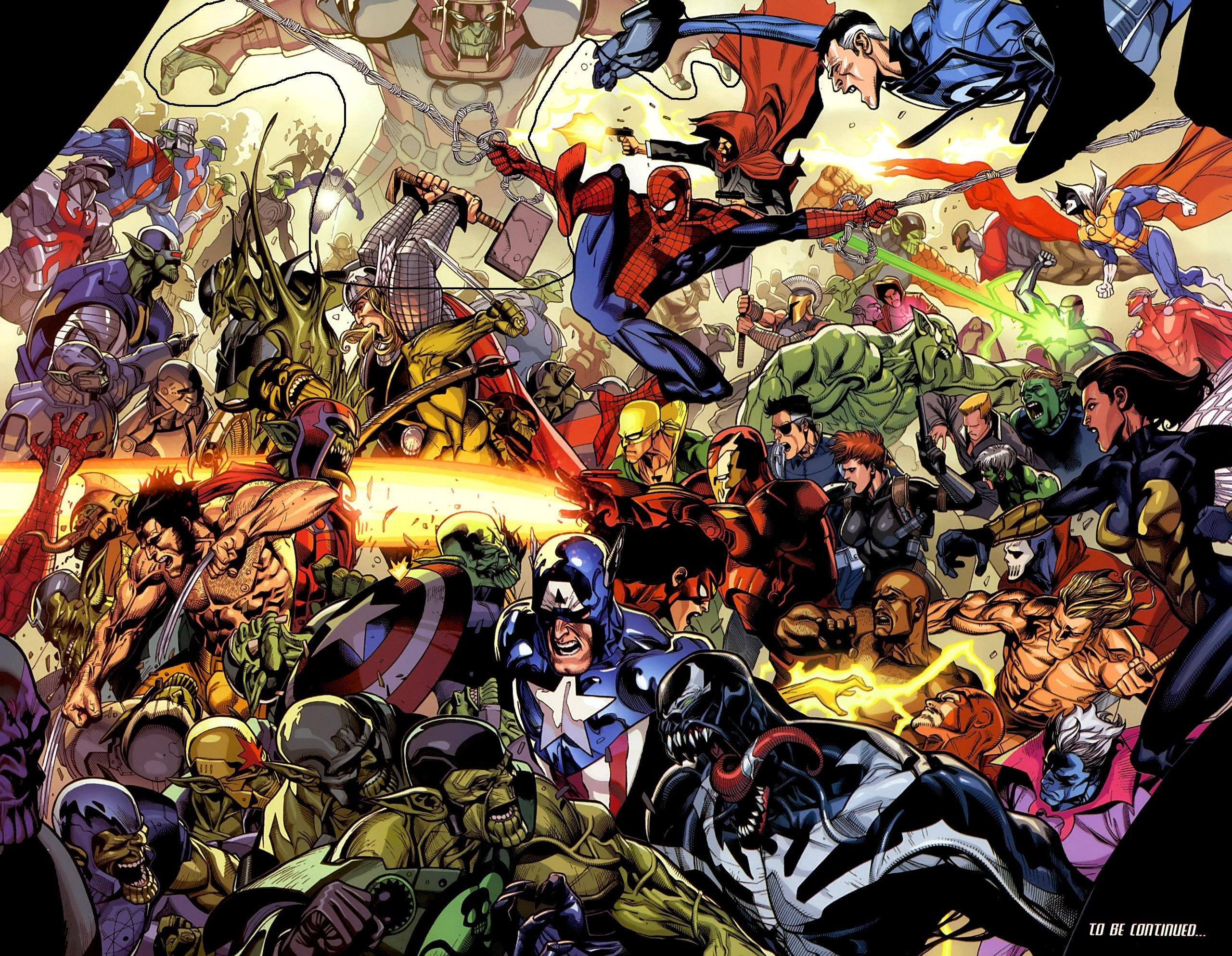 Res: 2560x1986, Comics - Marvel Comics Spider-Man Captain America Wolverine Iron Man Venom  Mister Fantastic Skrull