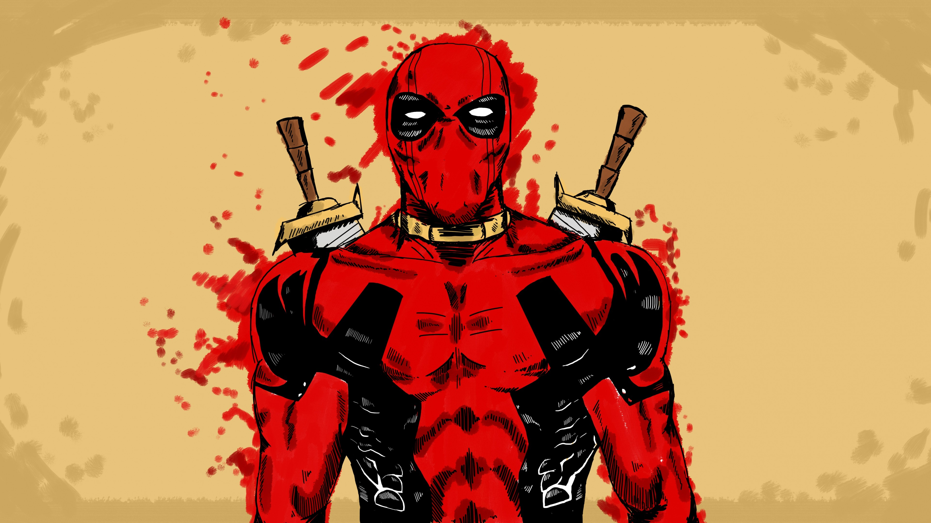 Res: 3840x2160, Deadpool Marvel Comic Art (2048x1152 Resolution)