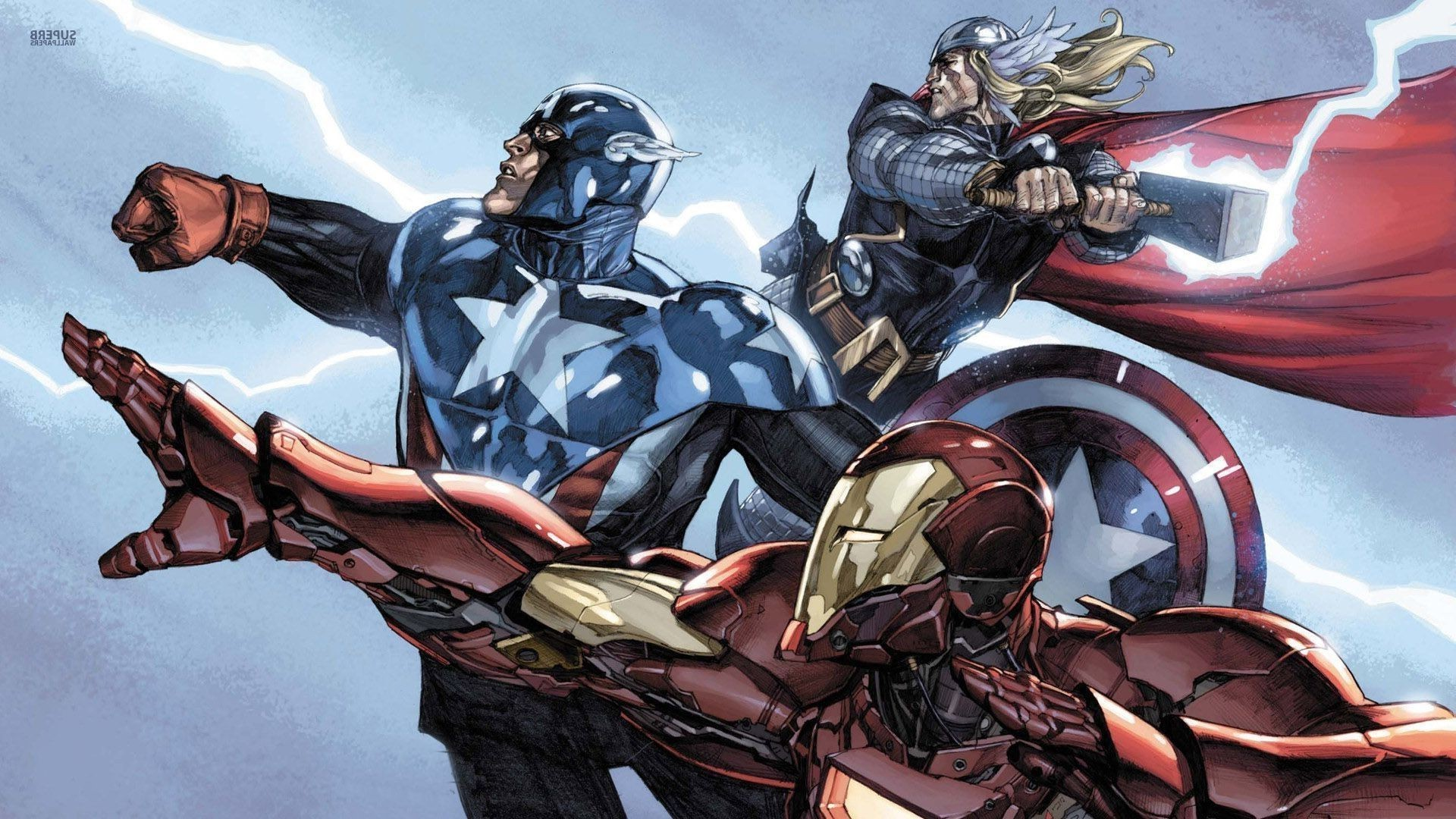 Res: 1920x1080, thor captain america iron man superhero marvel comics wallpaper and  background