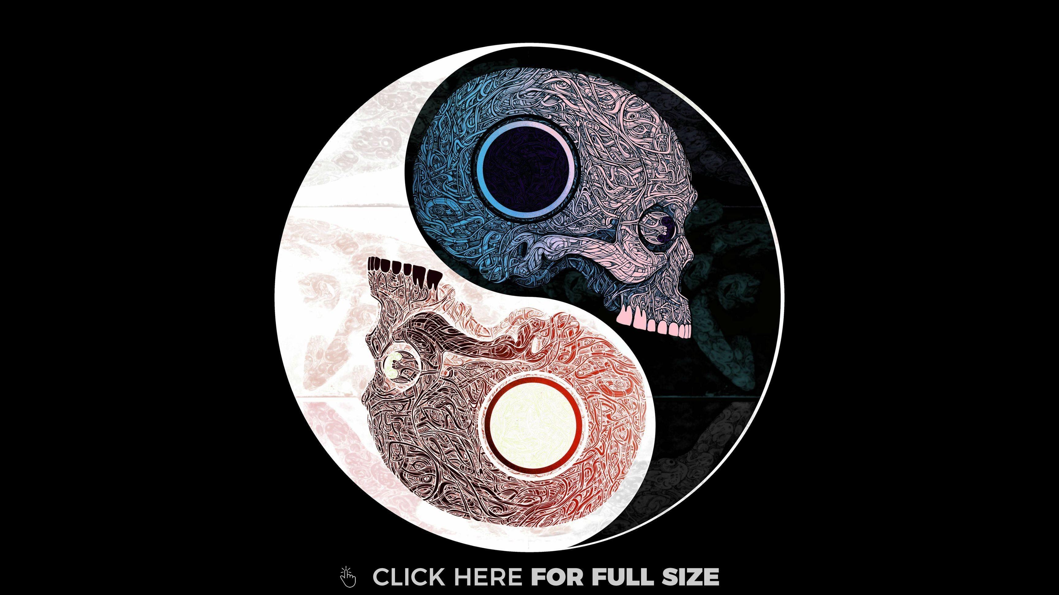 Res: 3456x1944, Skull Yin Yang 4K