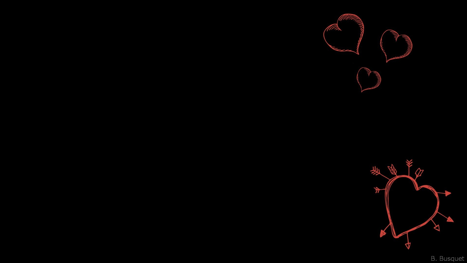 Res: 1920x1080, Black wallpaper with red hearts