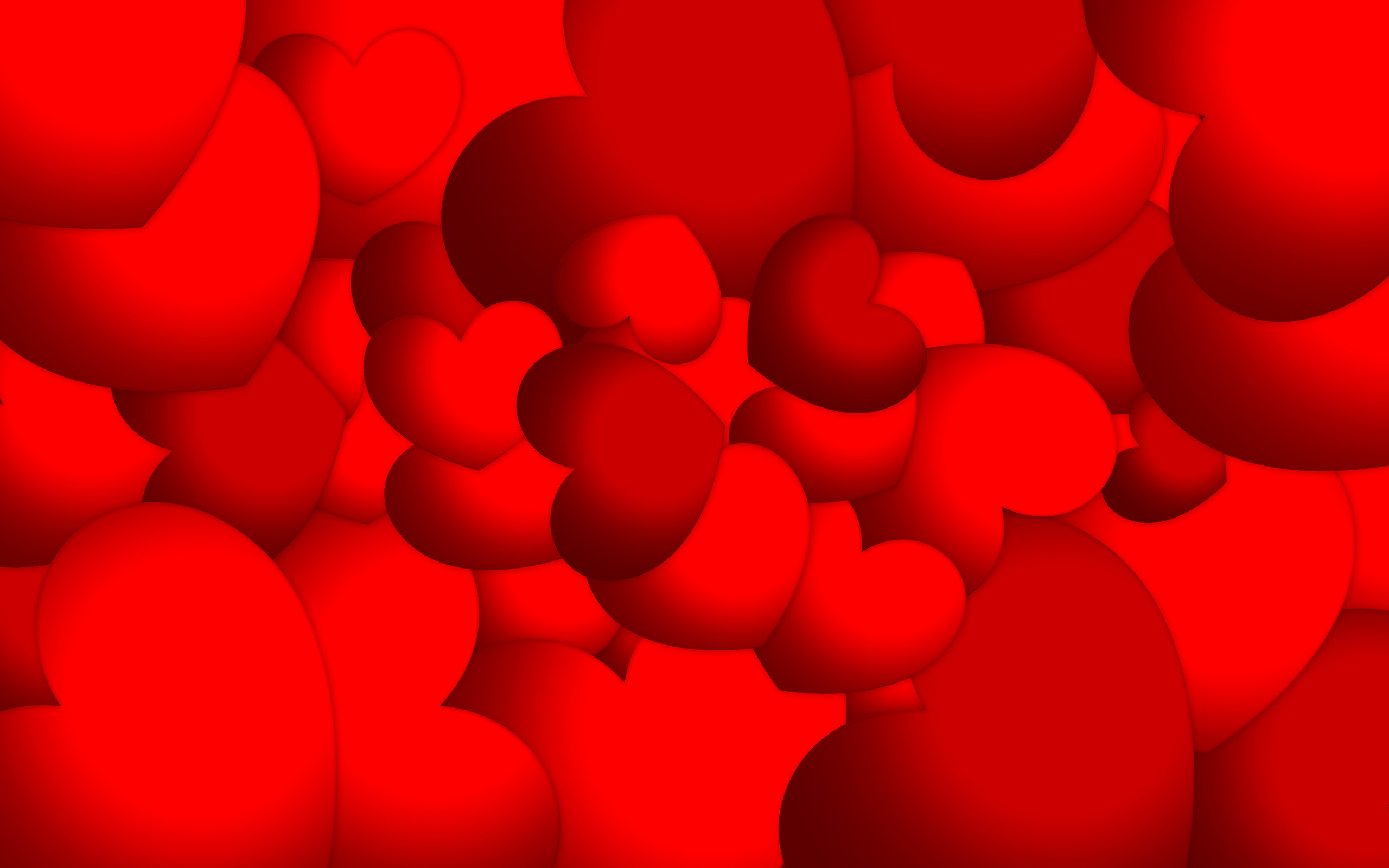 Res: 2560x1600, Red hearts wallpaper 17344
