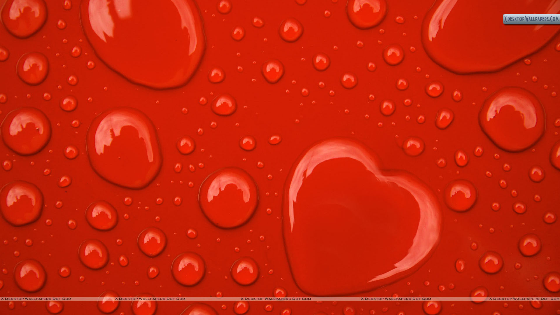 "Res: 1920x1080, You are viewing wallpaper titled ""Water Drop Hearts On Red ..."
