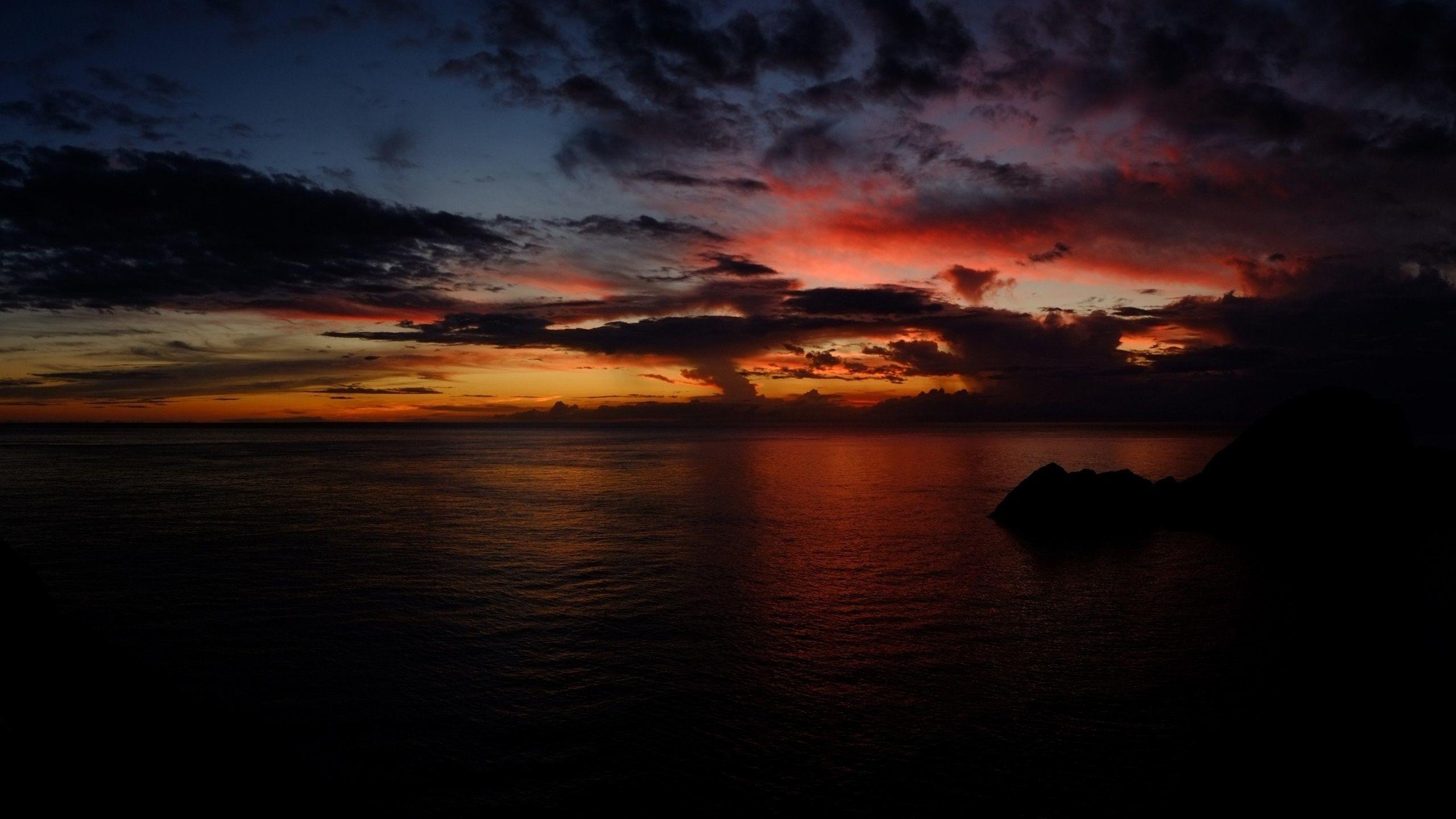 Res: 2560x1440, dark sunset hd |  Sunset Clouds & Dark Ocean desktop PC and Mac  wallpaper