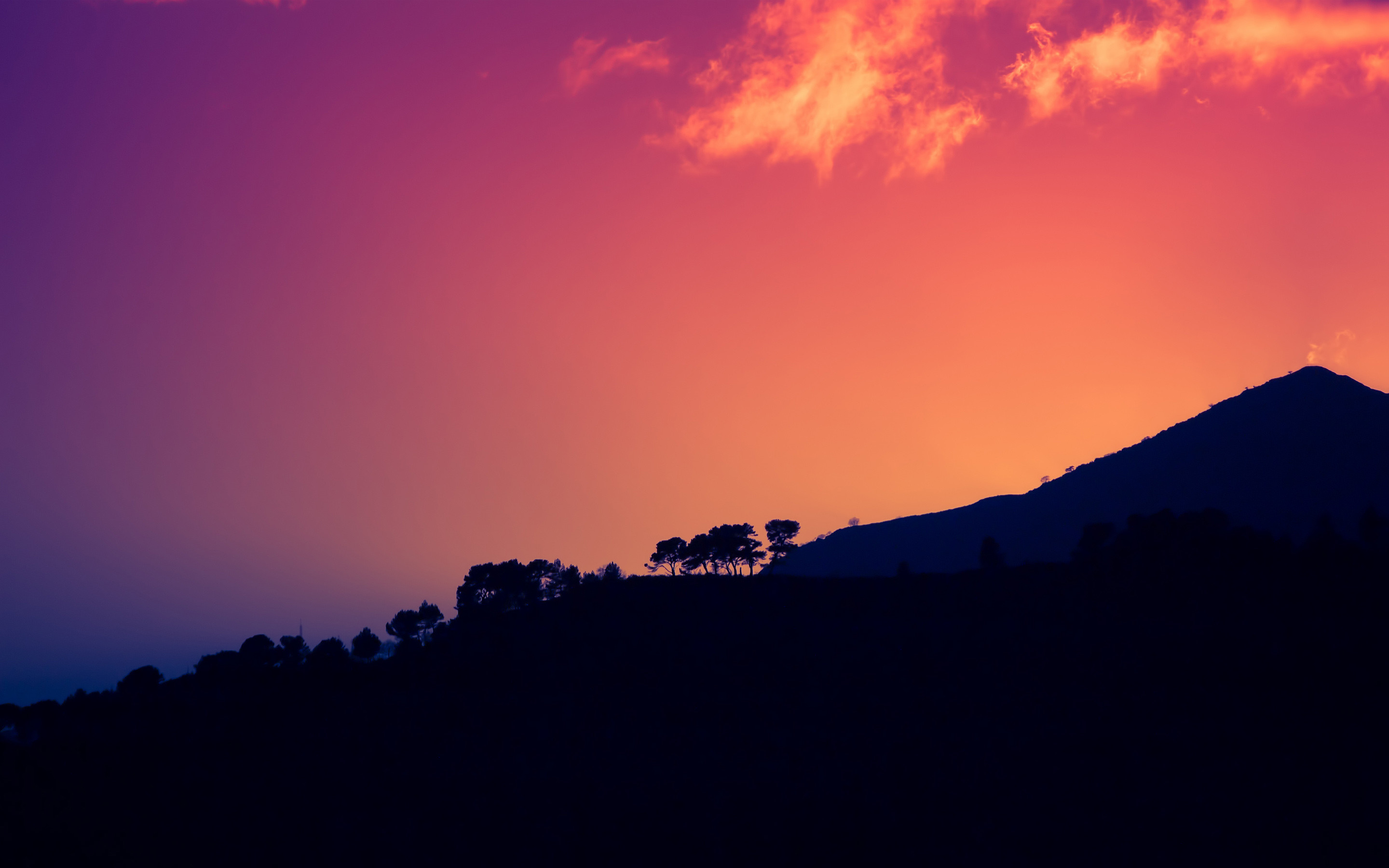 Res: 2880x1800, Sunset Dark Mountains Italy HD Wallpaper