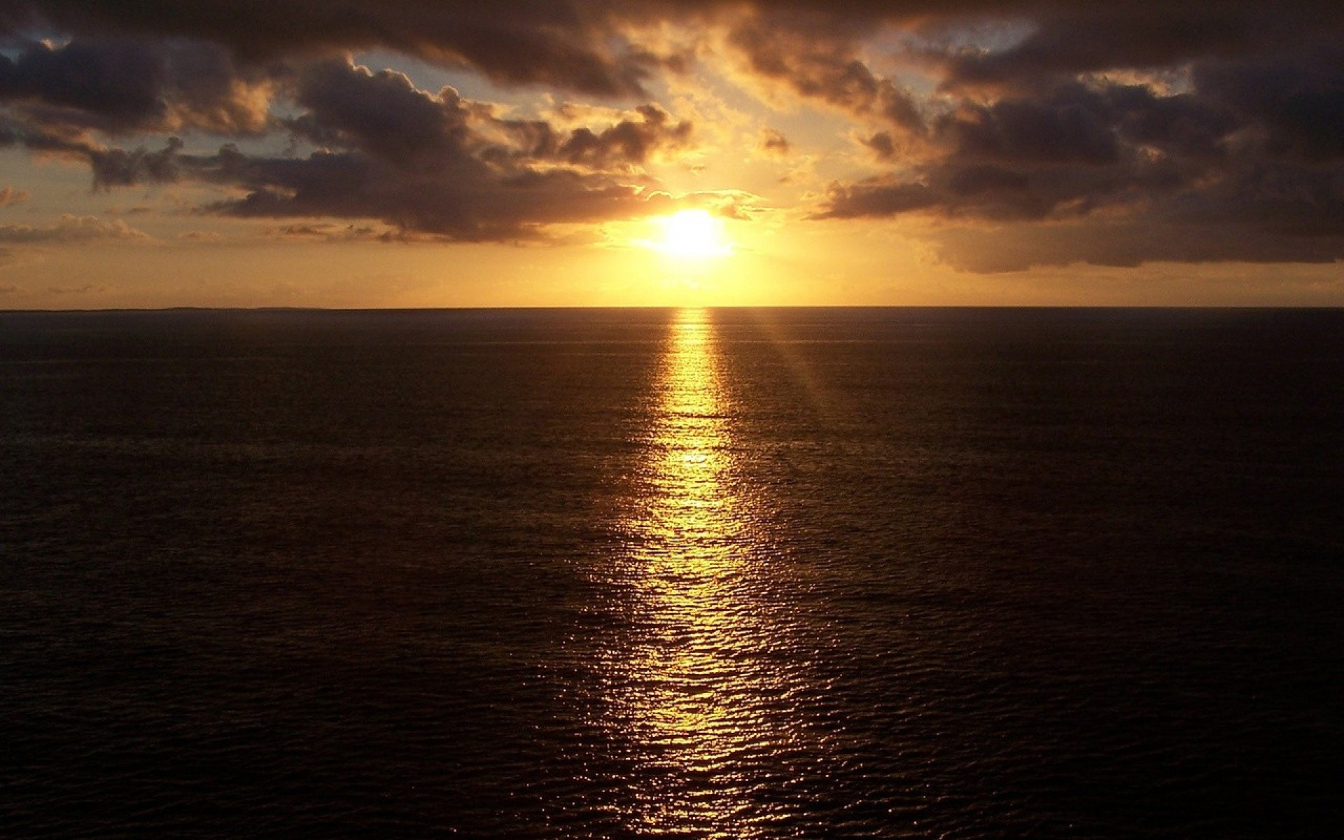 Res: 1920x1200, Image: Dark Ocean Sunset Line Reflect wallpapers and stock photos. Â«