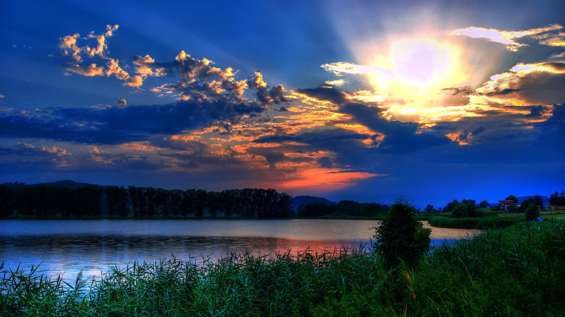 Res: 1920x1080, Gorgeous, Sunset, Behind, Dark, Clouds, Wide, Hd, Wallpaper, Download,  Free, Desktop, Background, Photos, Desktop Images, Download, Free, ...