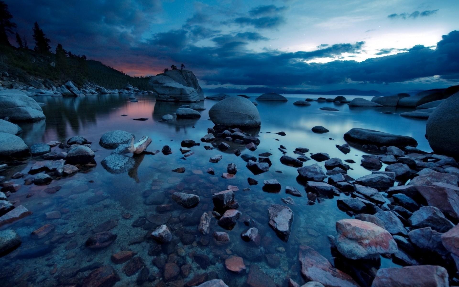 Res: 1920x1200, The Dark Lake Sunset
