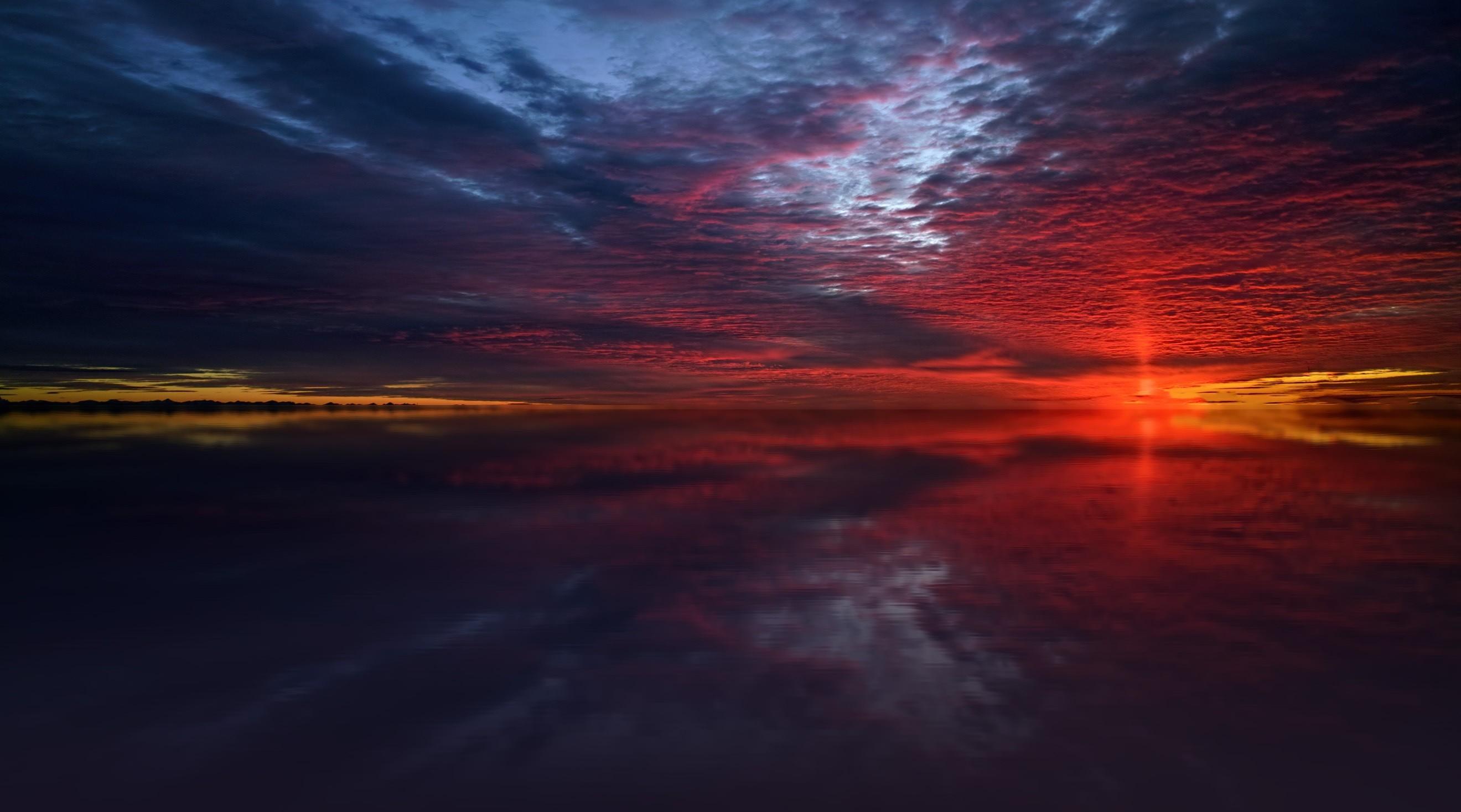 Res: 2640x1468, Twilight Sea Stars Dusk Dawn Dark Sunset