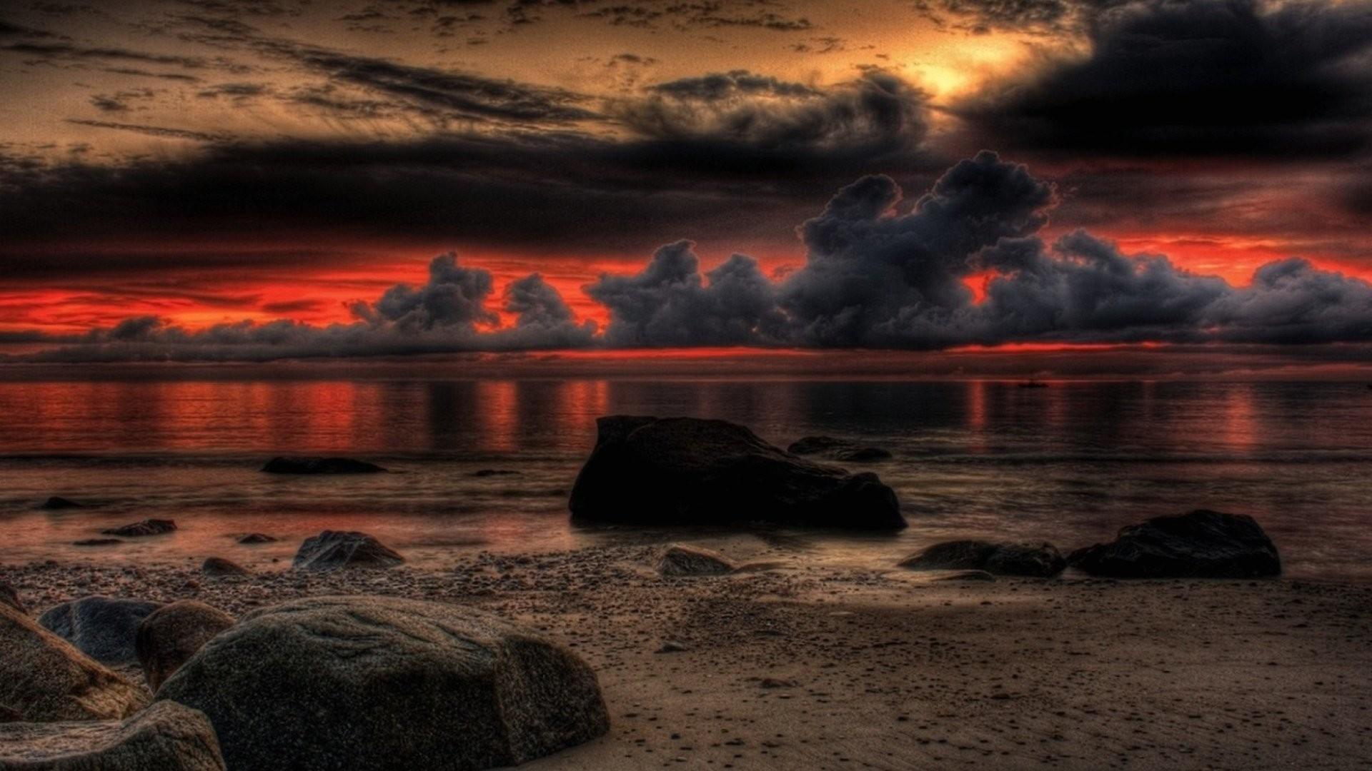 Res: 1920x1080, Wallpaper dark sea sunset 1920 x 1080 full hd