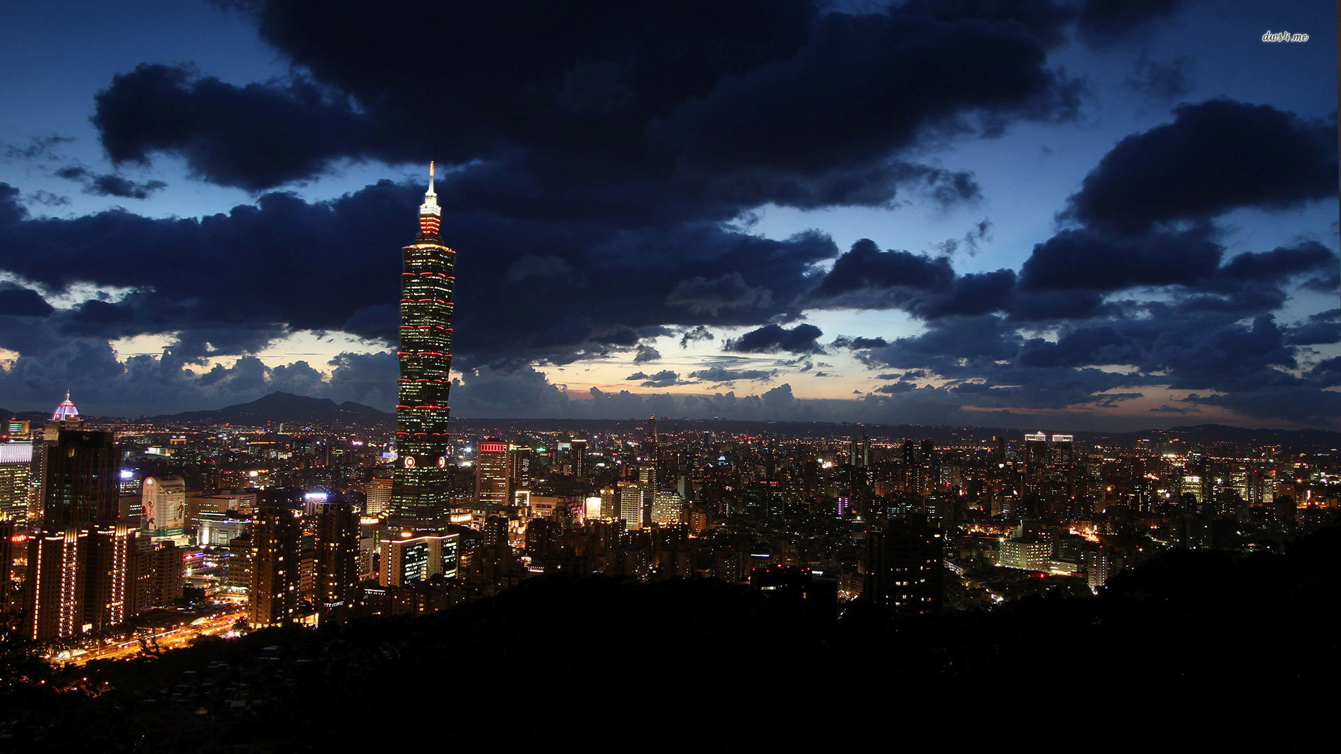 Res: 1920x1080, DARK CLOUDS ABOVE TAIPEI AT SUNSET WALLPAPER