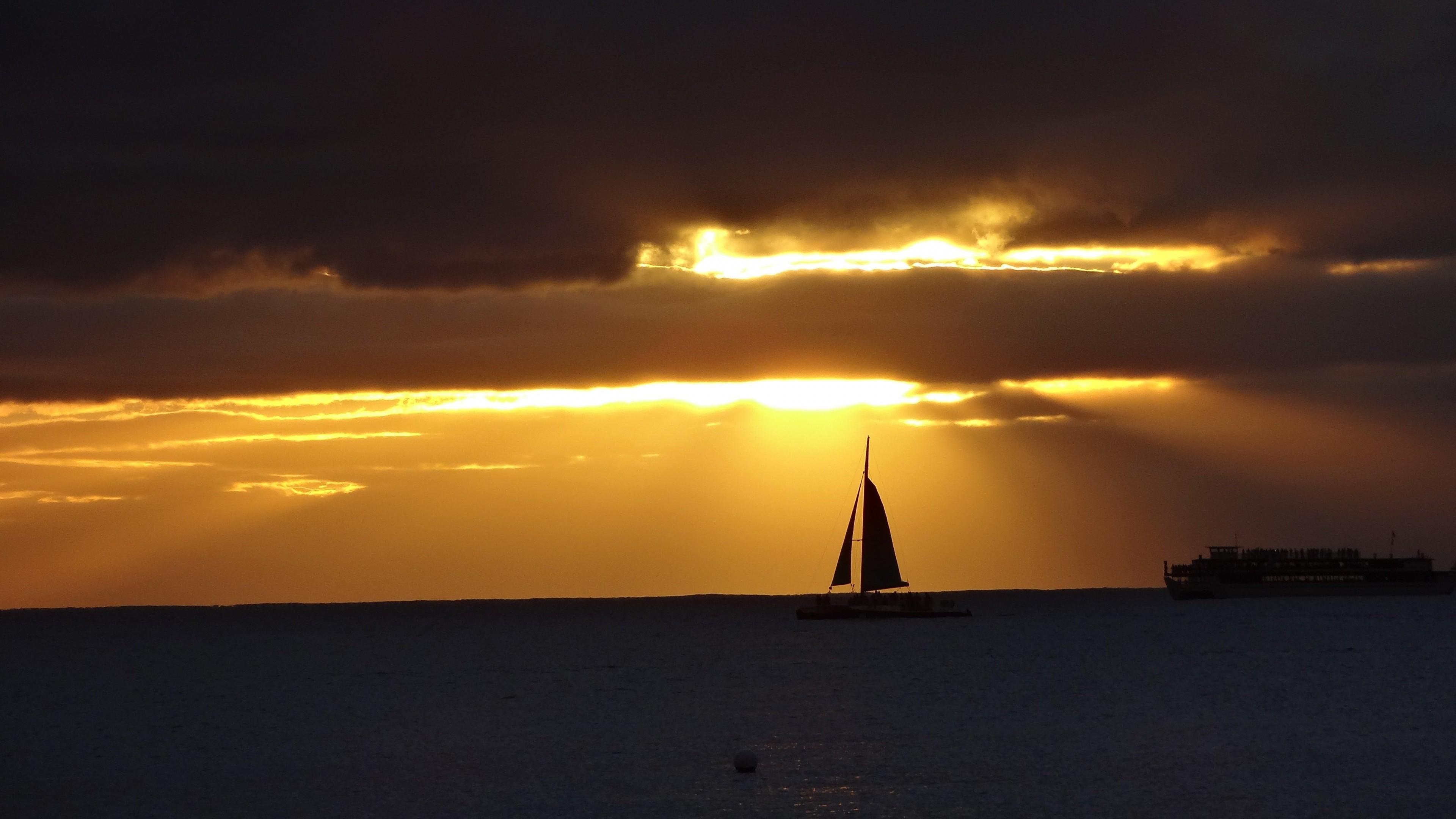 Res: 3840x2160, Sailboat sea sunset lights dark ultra hd wallpapers 4k