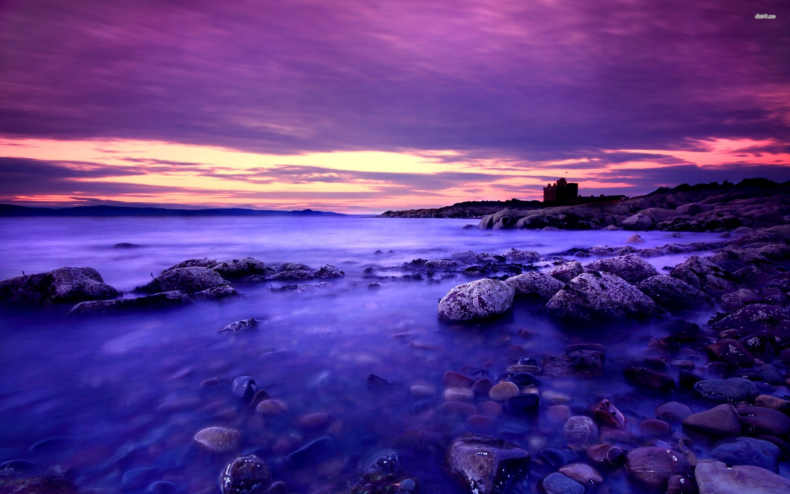 Res: 2560x1600, ... Rounded rocks in the dark blue water at sunset wallpaper  ...