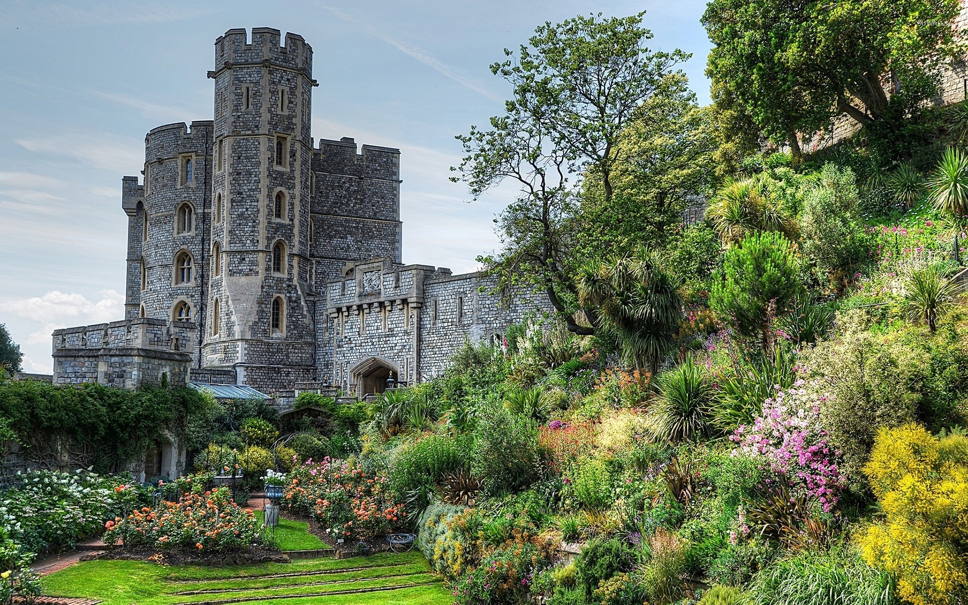 Res: 1920x1200, Stone castle with a beautiful garden wallpaper