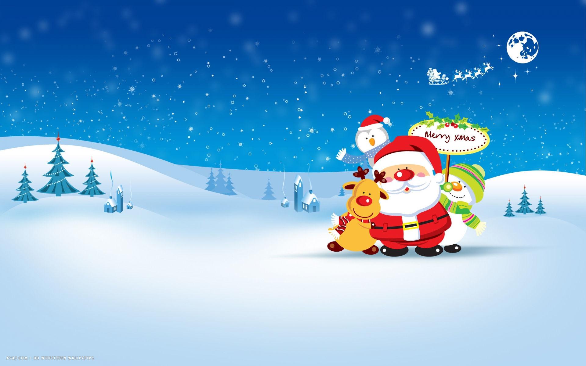 Res: 1920x1200, merry xmas christmas landscape vector santa rudolph snowman holiday hd  widescreen wallpaper