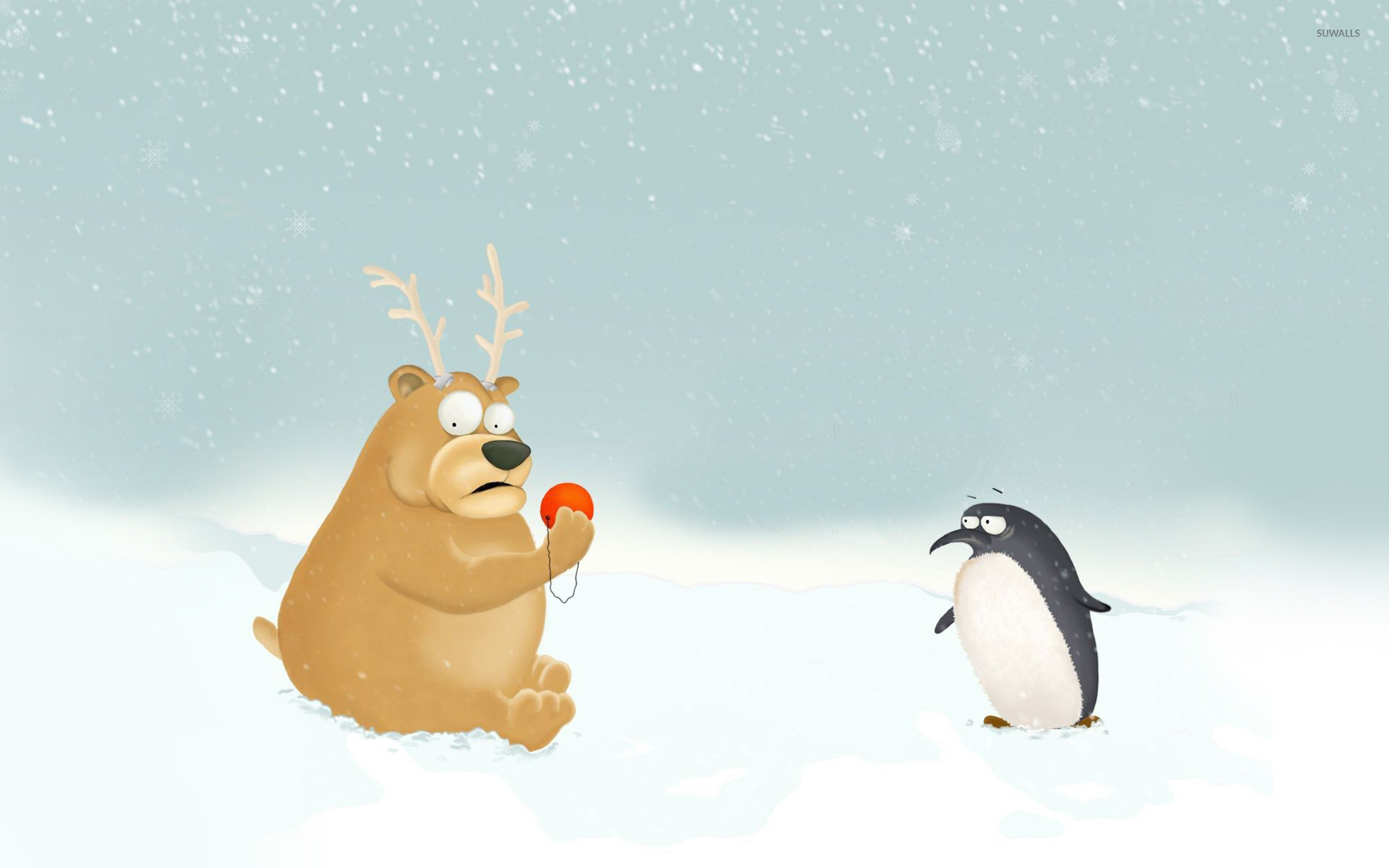 Res: 1920x1200, Penguin and bear dressed as Rudolph wallpaper