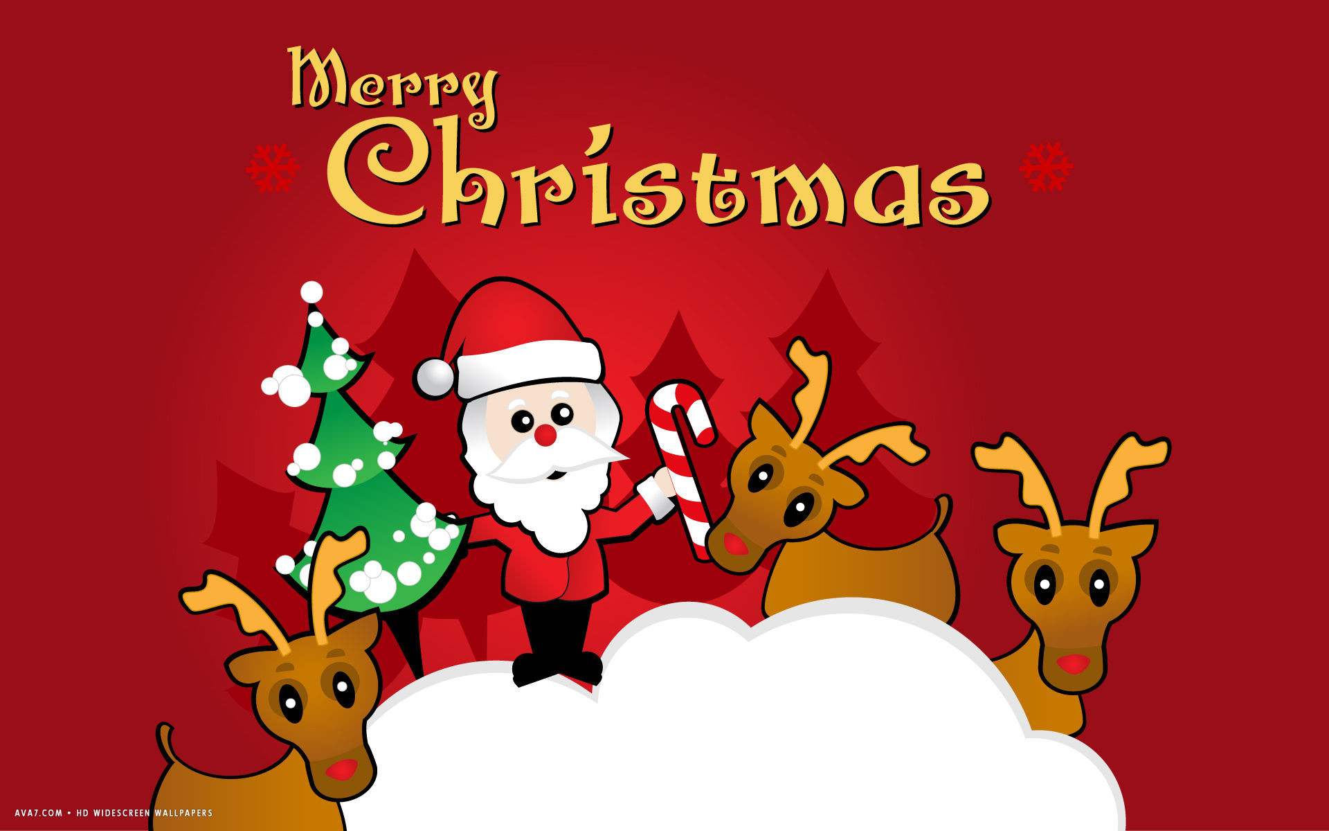 Res: 1920x1200, merry christmas santa claus reindeers rudolph cartoon vector art holiday hd  widescreen wallpaper