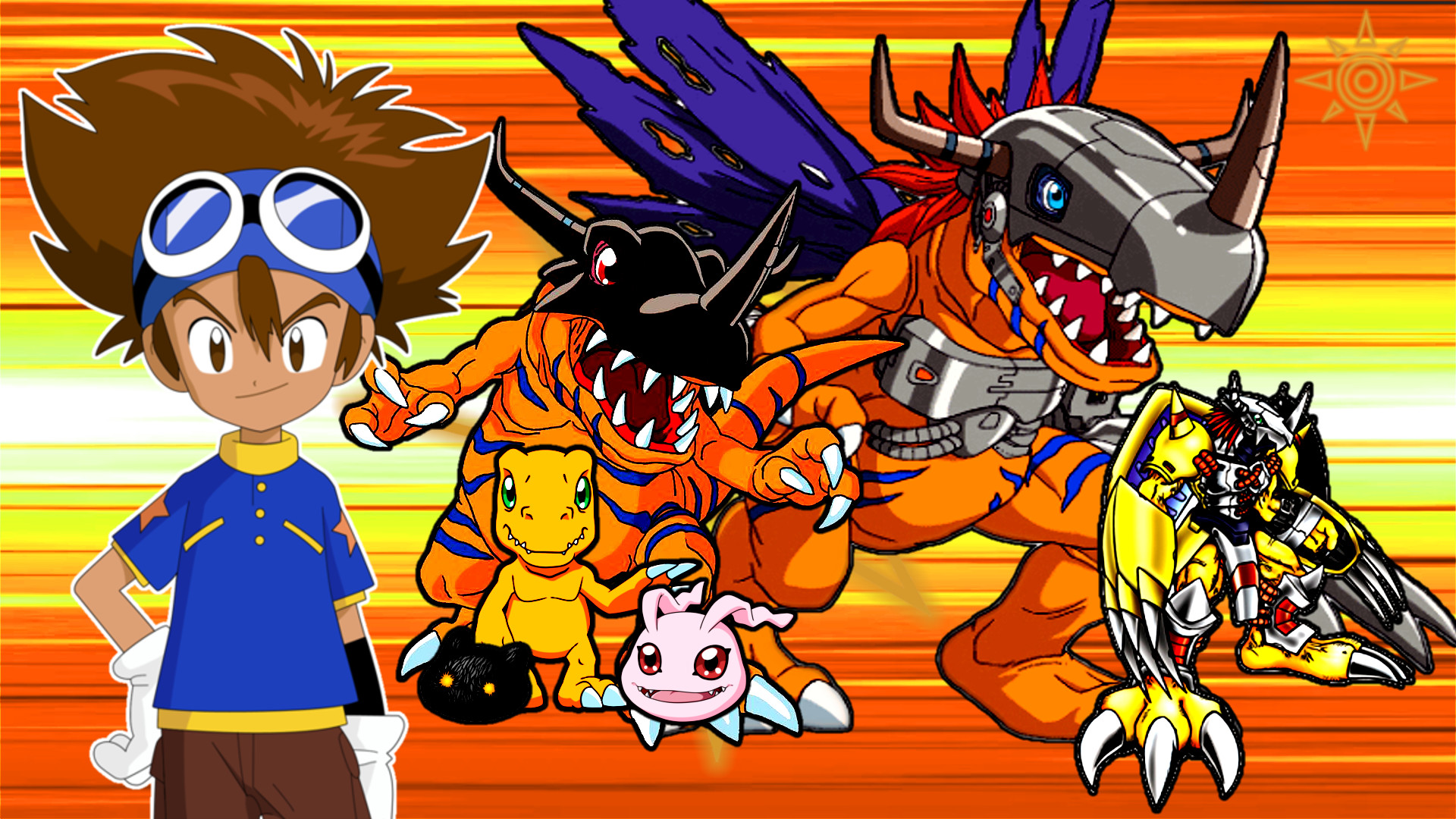 Res: 1920x1080, Tai, Agumon, and his evolutions Wallpaper by MattPlaysVG