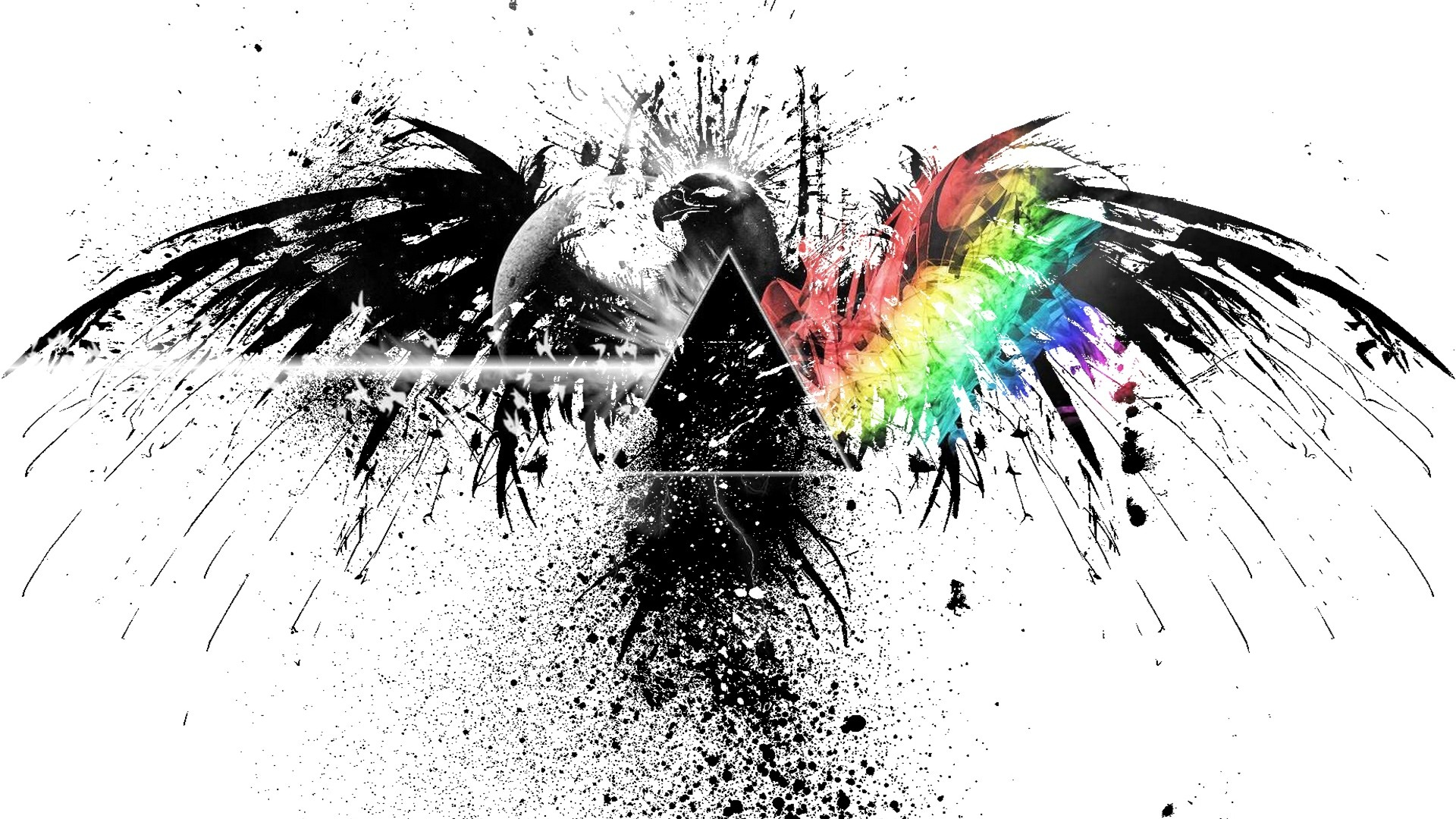 Res: 1920x1080, pink floyd black and white rainbow eagle graffiti spray
