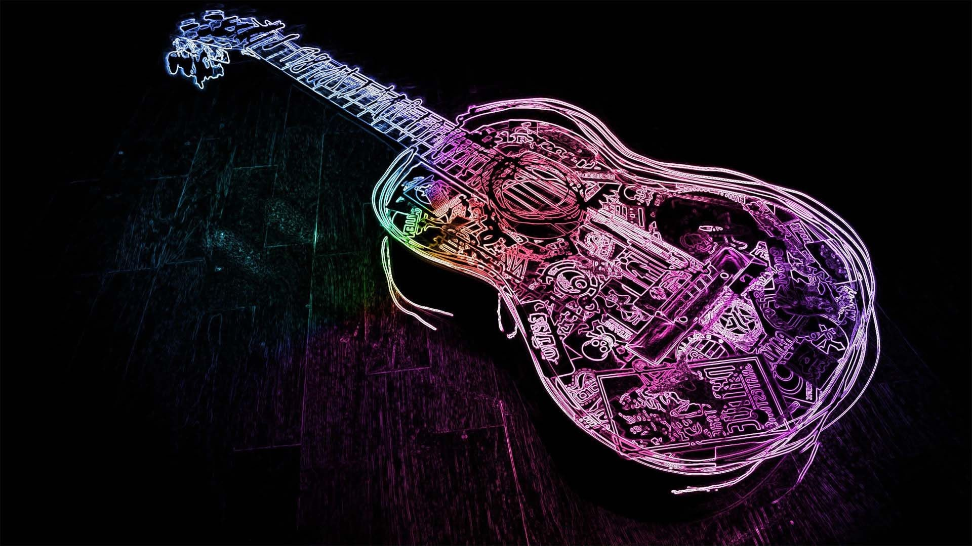 Res: 1920x1080, Glowing Neon Guitar Outline | HD Dance and Music Wallpaper Free Download ...