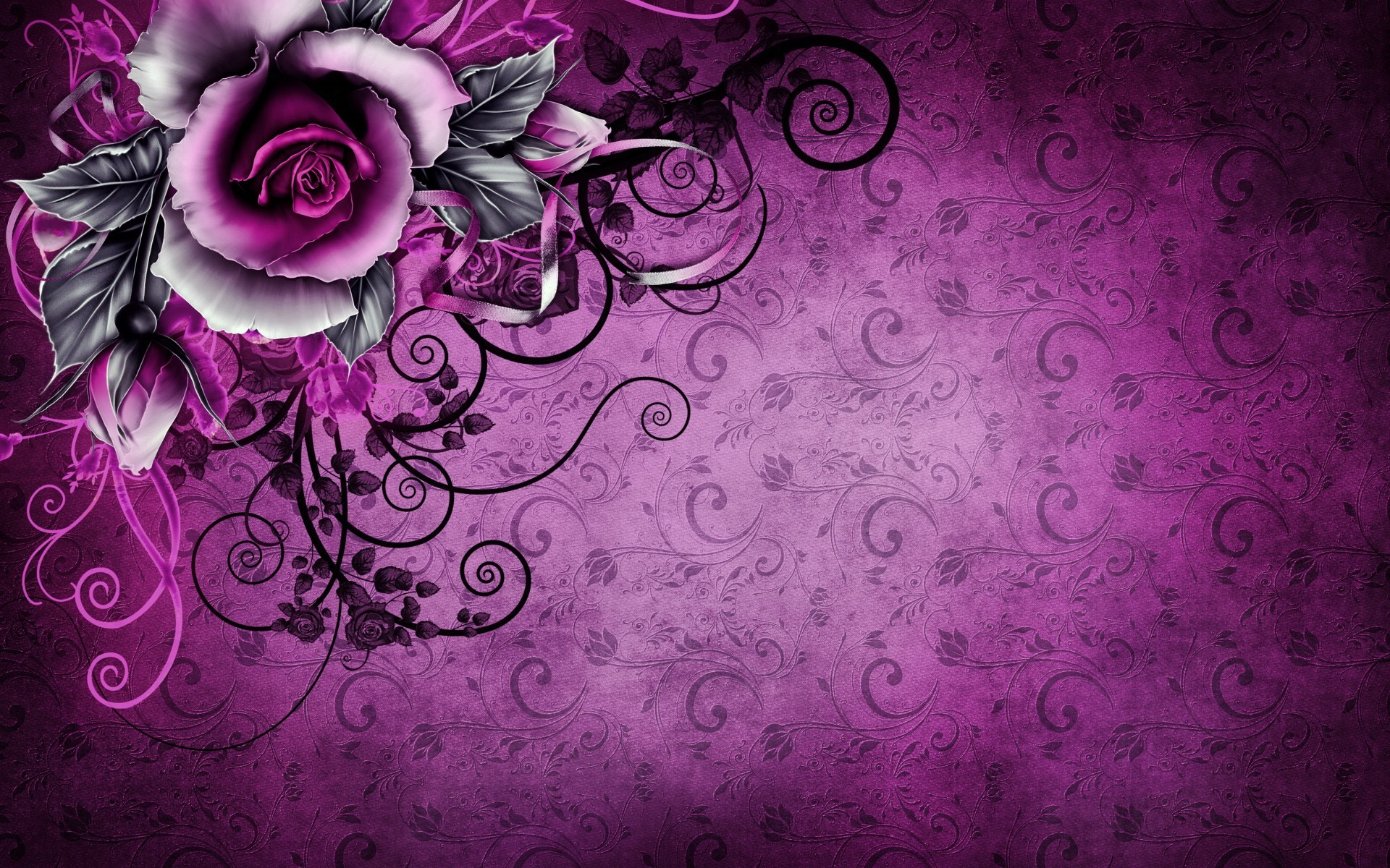 Res: 1920x1200, Bild: Vintage Rose Abstrakte lila wallpapers and stock photos. Â«