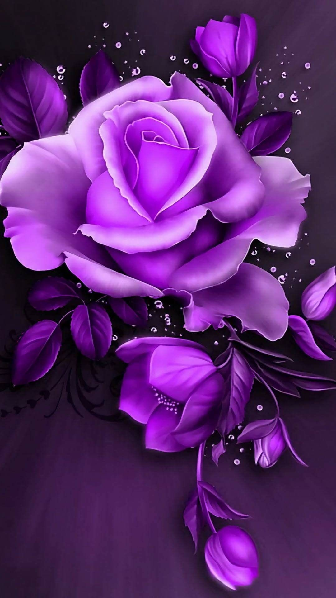 Res: 1080x1920, Rose Wallpaper, Wallpaper Backgrounds, Purple Roses, Pink Purple, Tattoo,  Digital Art, Animation, Plants, Tattoo Art