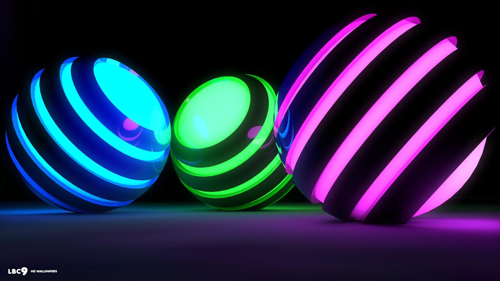 Res: 1920x1080, Wallpapers For > Neon Rainbow Backgrounds 3d 3d neon spheres  ...