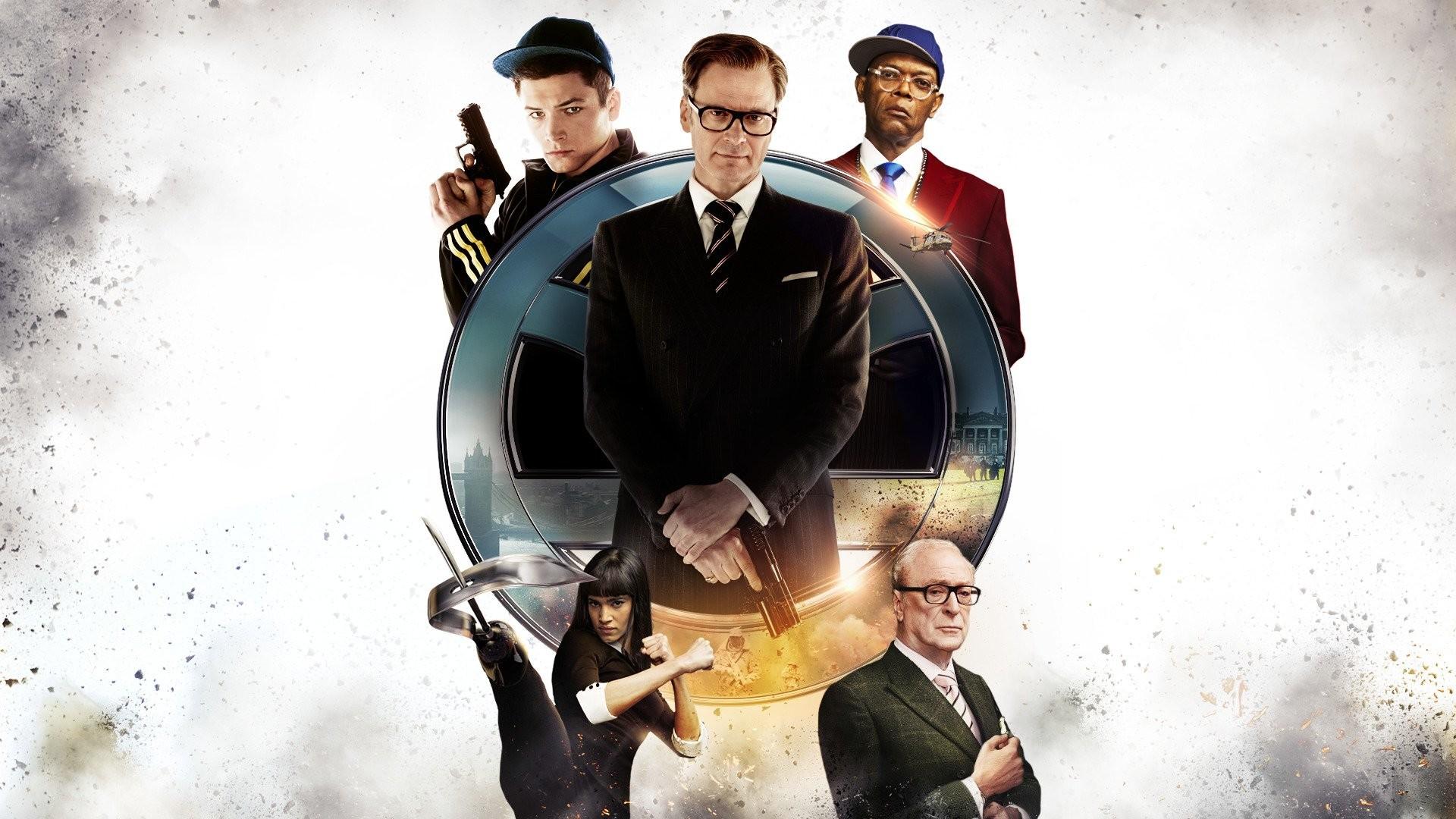 Res: 1920x1080, Filme - Kingsman: The Secret Service Taron Egerton Colin Firth Samuel L.  Jackson Michael