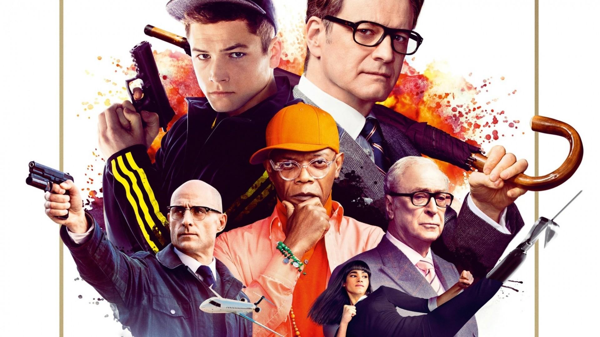 Res: 1920x1080, Movie - Kingsman: The Secret Service Colin Firth Taron Egerton Samuel L.  Jackson Michael