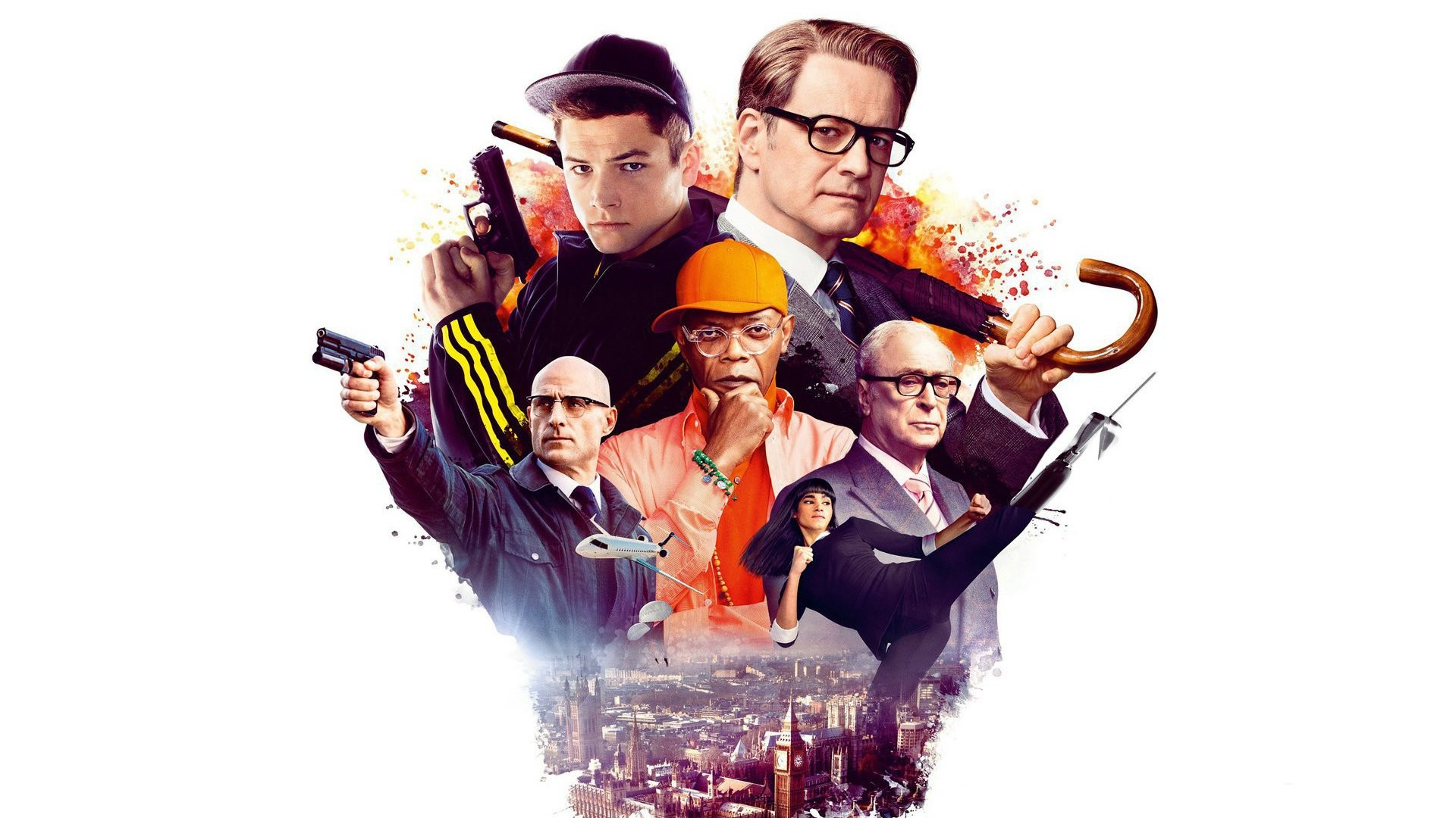 Res: 1920x1080, Movie - Kingsman: The Secret Service Mark Strong Taron Egerton Colin Firth  Samuel L.