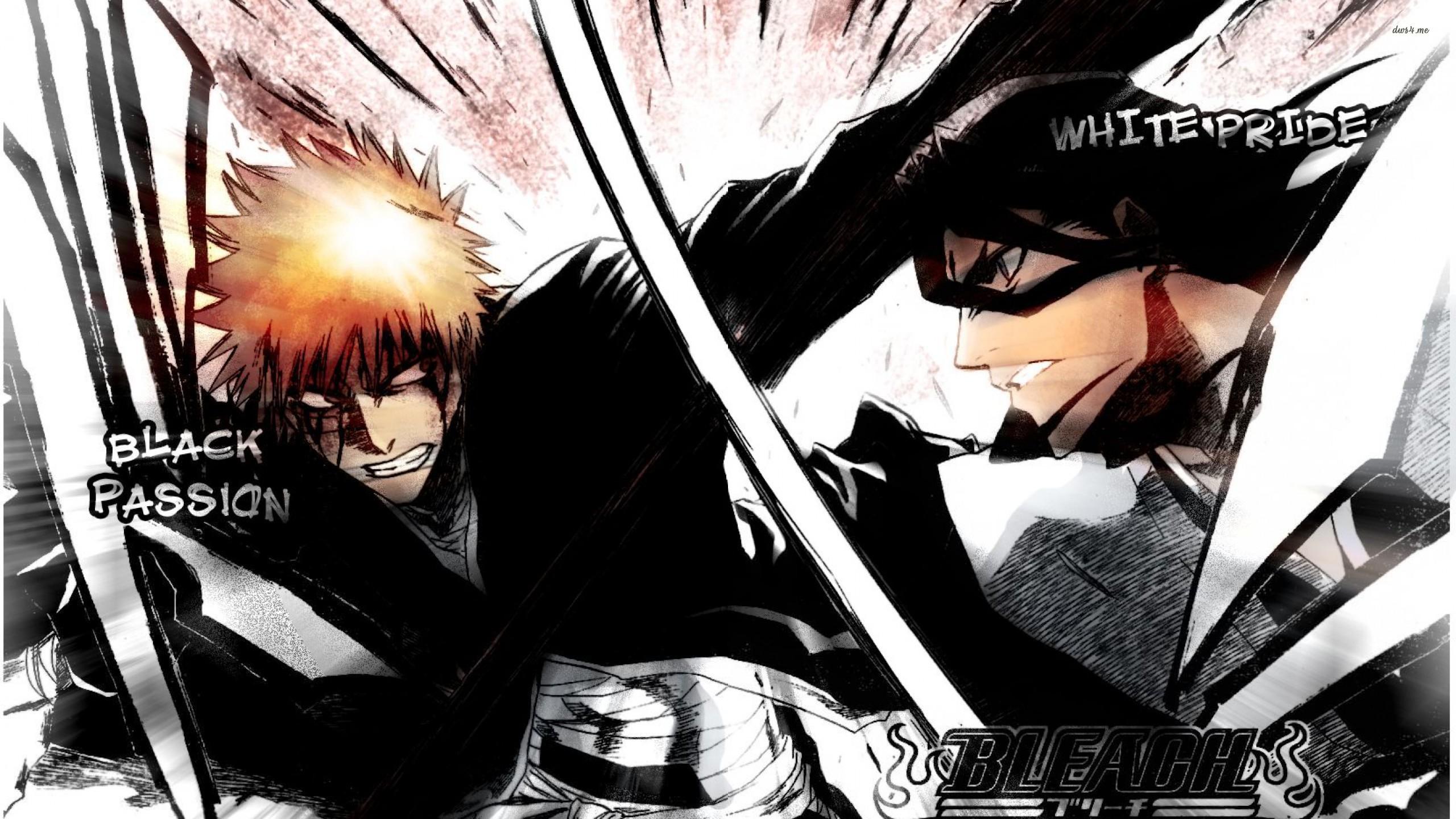 Res: 2560x1440, Bleach - Byakuya Kuchik and Ichigo Kurosaki fighting