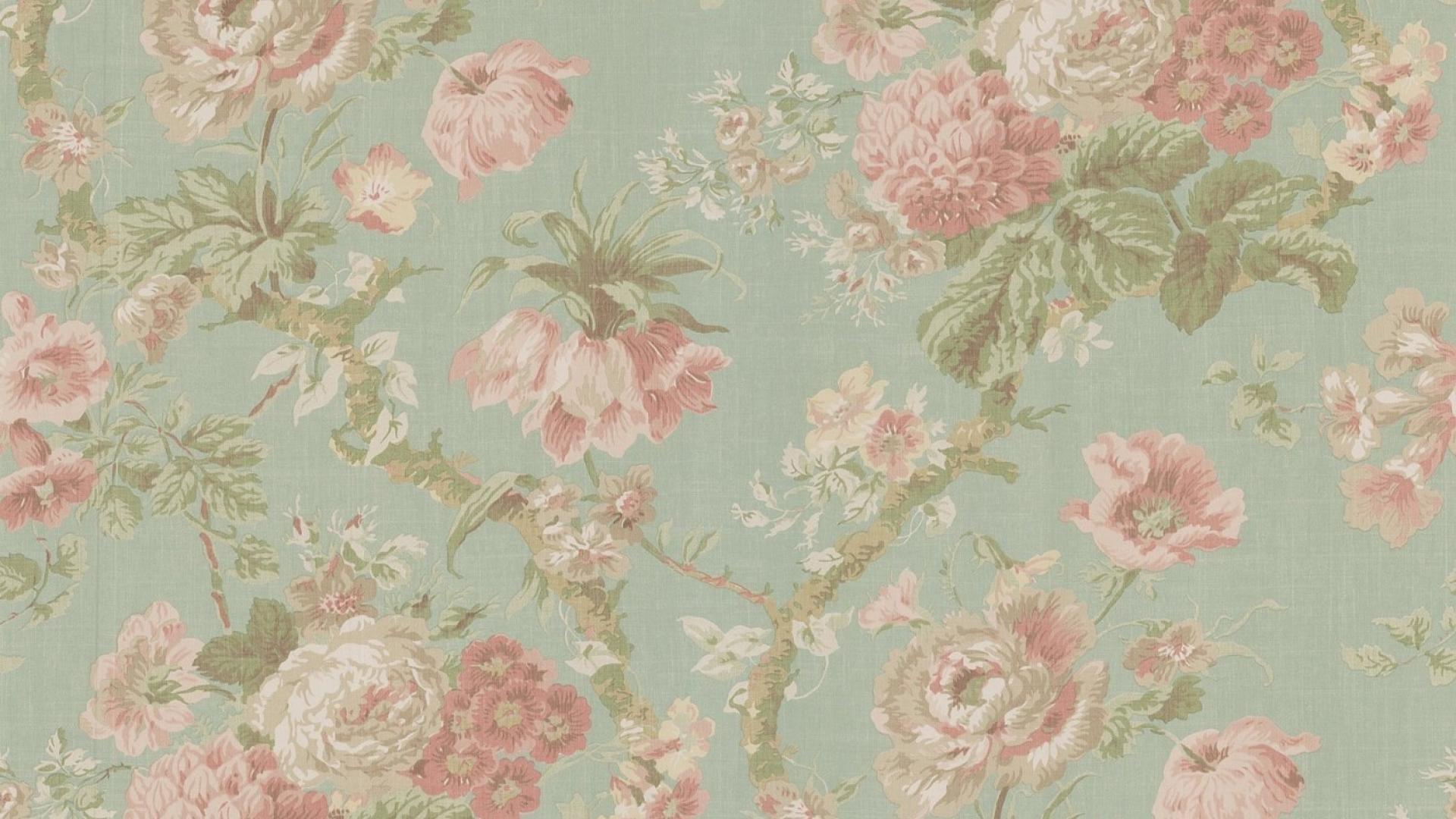 Res: 1920x1080, ... FZR-46: Vintage Flower Background Wallpapers for Desktop ...
