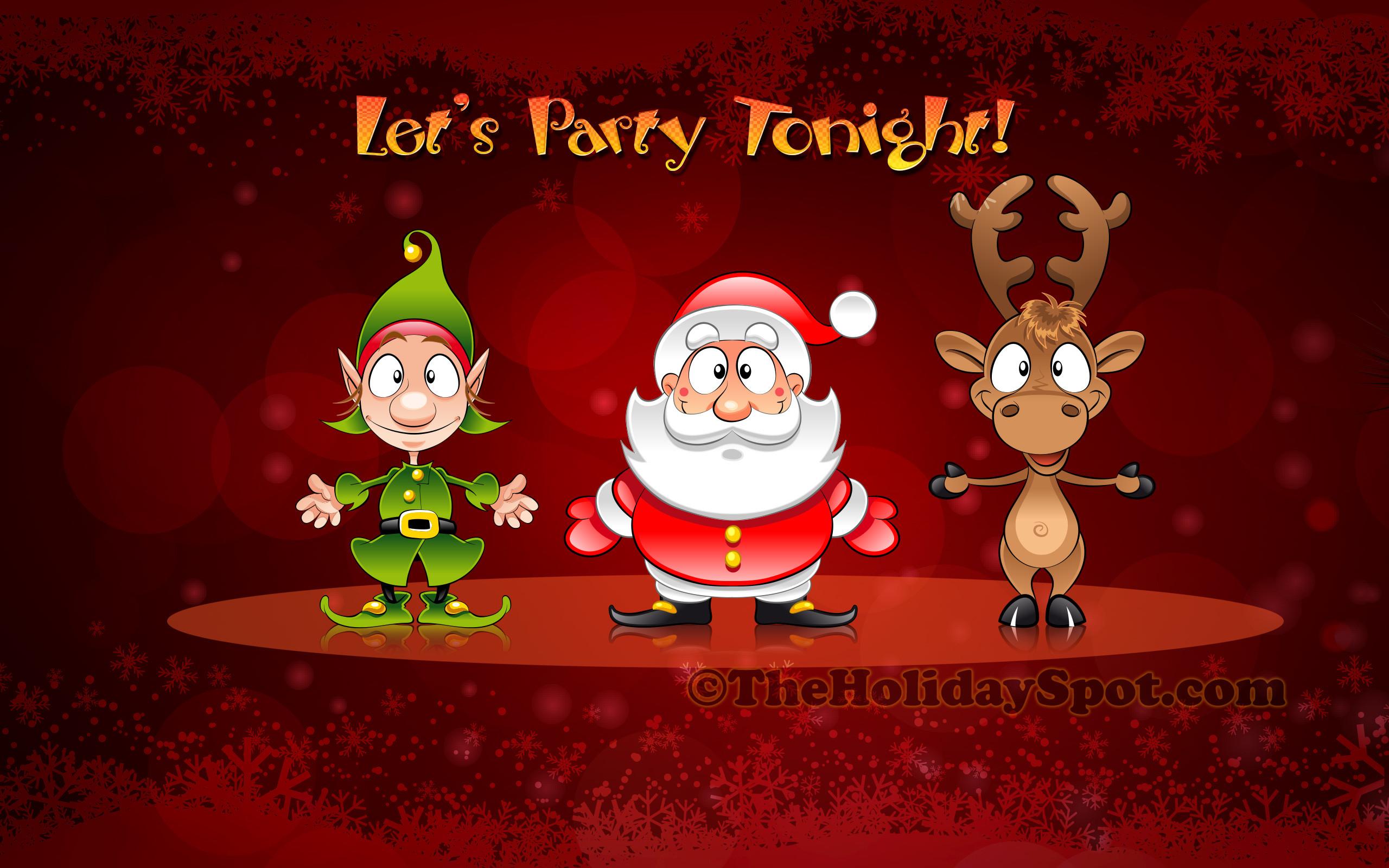 Res: 2560x1600, Christmas Wallpaper of Santa, Elve and Reindeer