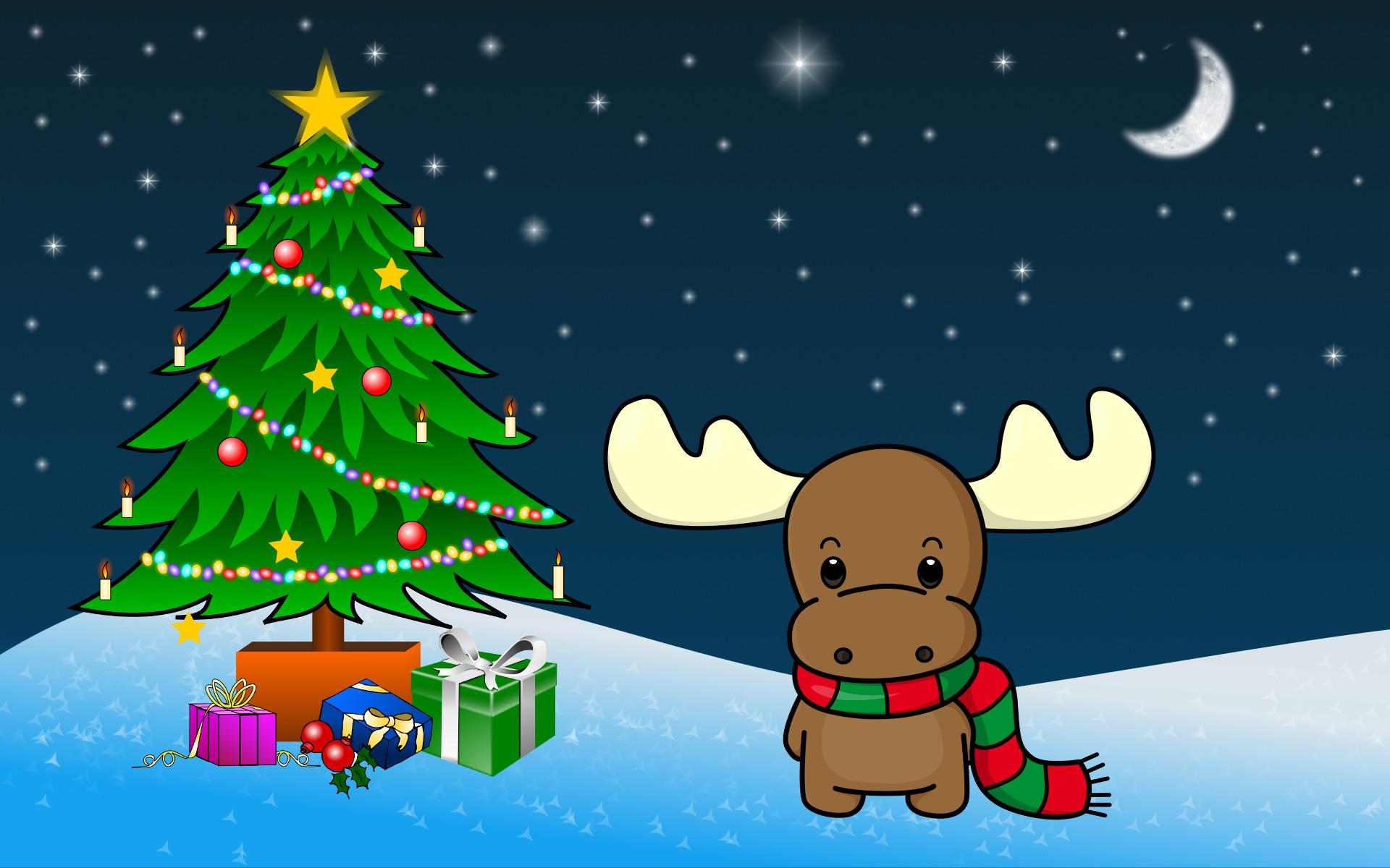Res: 1920x1200, Shy Christmas Moose wallpaper