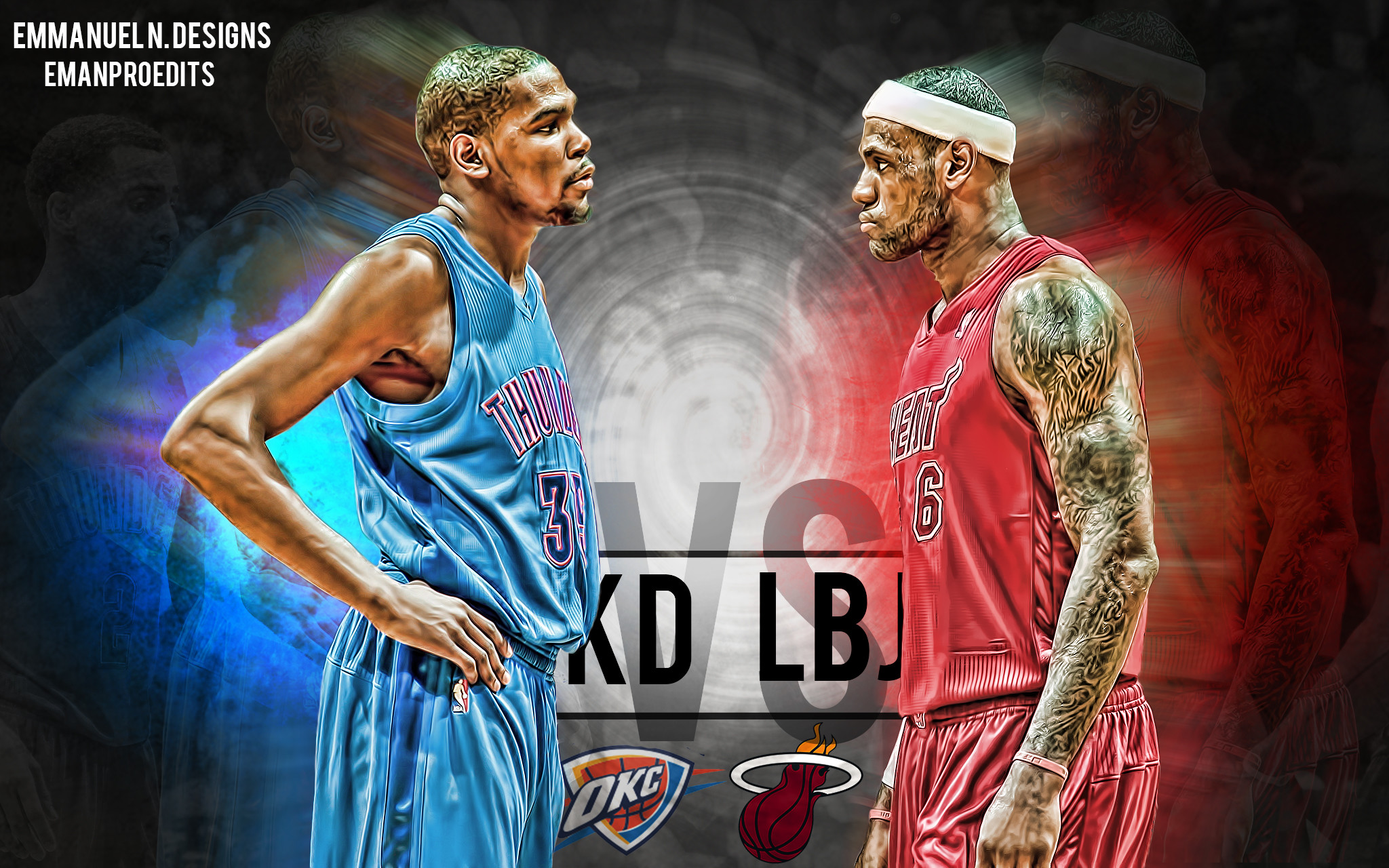 Res: 2048x1280, ... Kevin Durant vs Lebron James Wallpaper by emanproedits