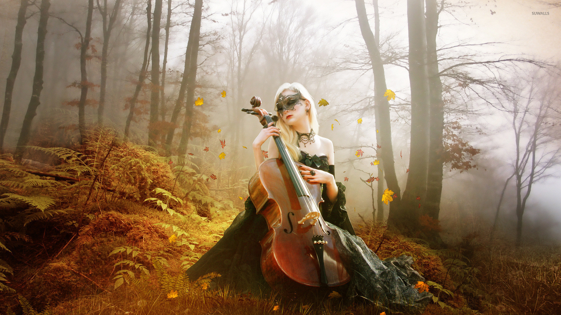 Res: 1920x1080, Masked woman playing the cello wallpaper