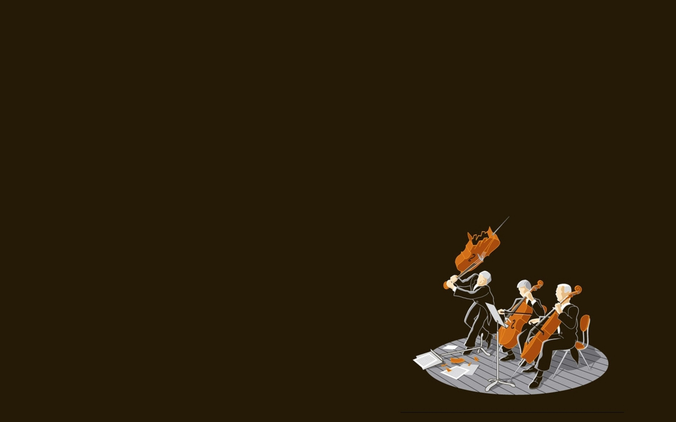 Res: 2560x1600, Playing the cello, brown background