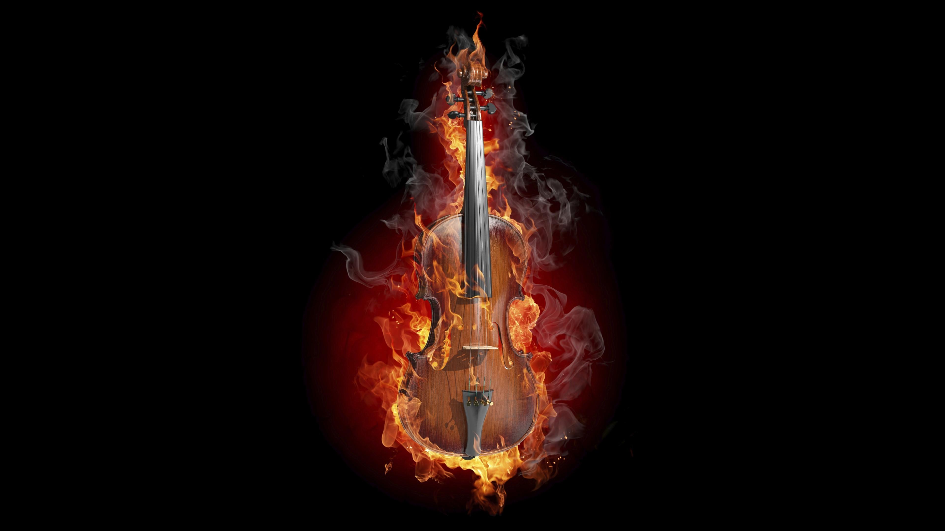 Res: 3840x2160, Creative Graphics / Violin Wallpaper