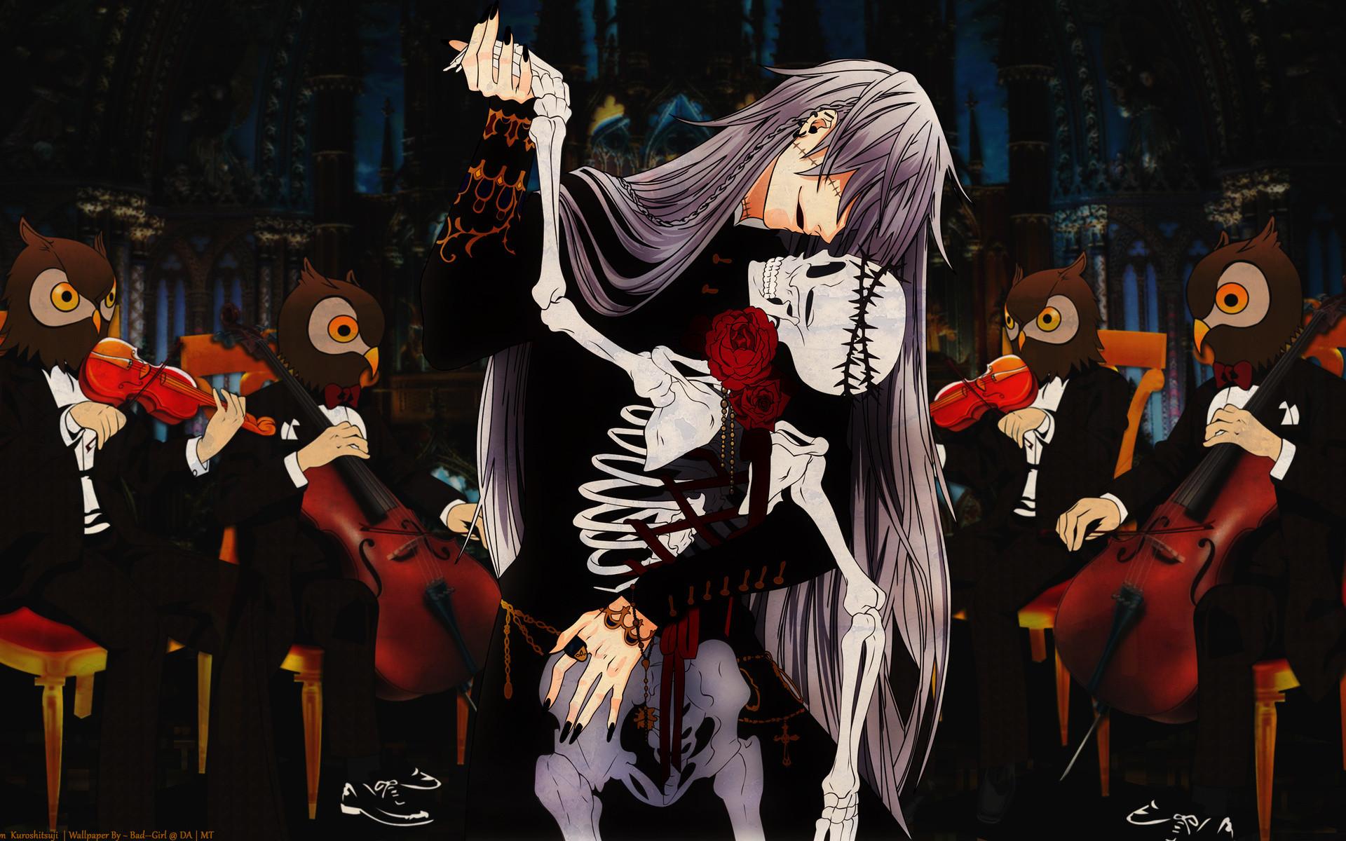 Res: 1920x1200, Flowers, Anime Images, Undertaker, Anime Art, Music, Skull, Kuroshitsuji  Cello