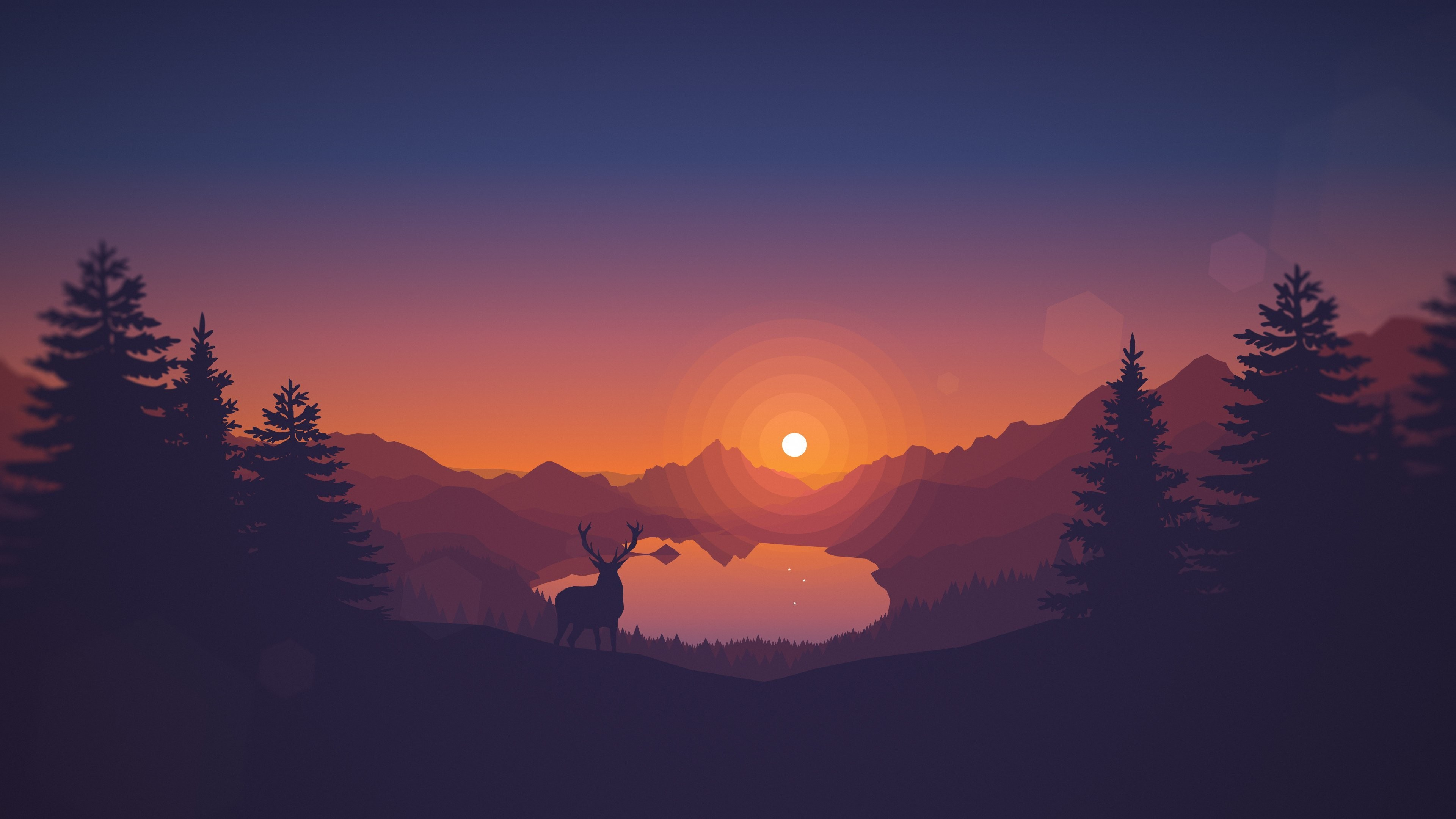 Res: 3840x2160, tumblr_static_summer_sunset_created_by_-_marilou Poly-Lakeside  wall_whiteonblue minimal-retro