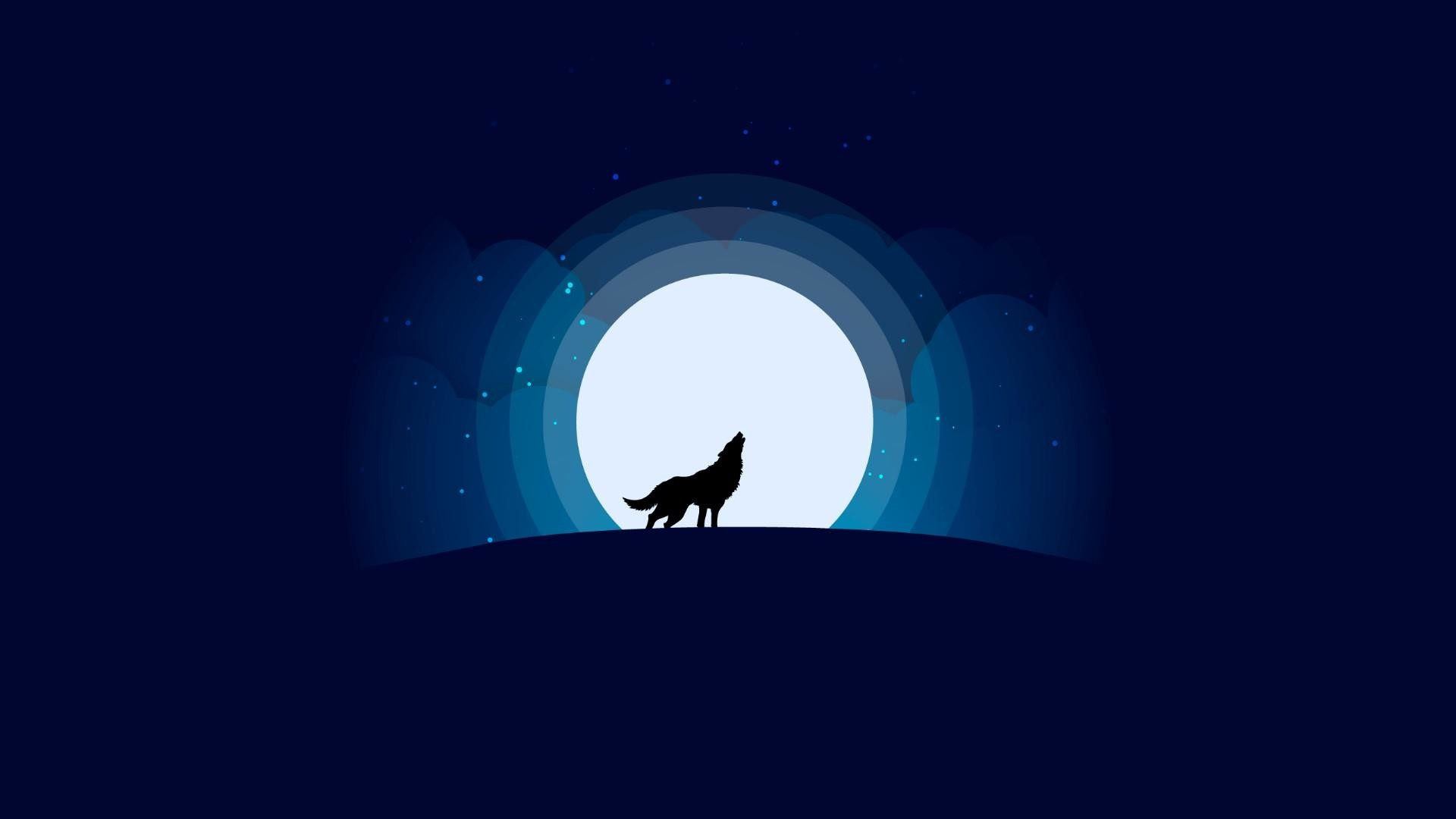 Res: 1920x1080, Wolf With Full Moon - Minimalist Design Wallpaper | Wallpaper Studio 10 |  Tens of thousands HD and UltraHD wallpapers for Android, Windows and Xbox