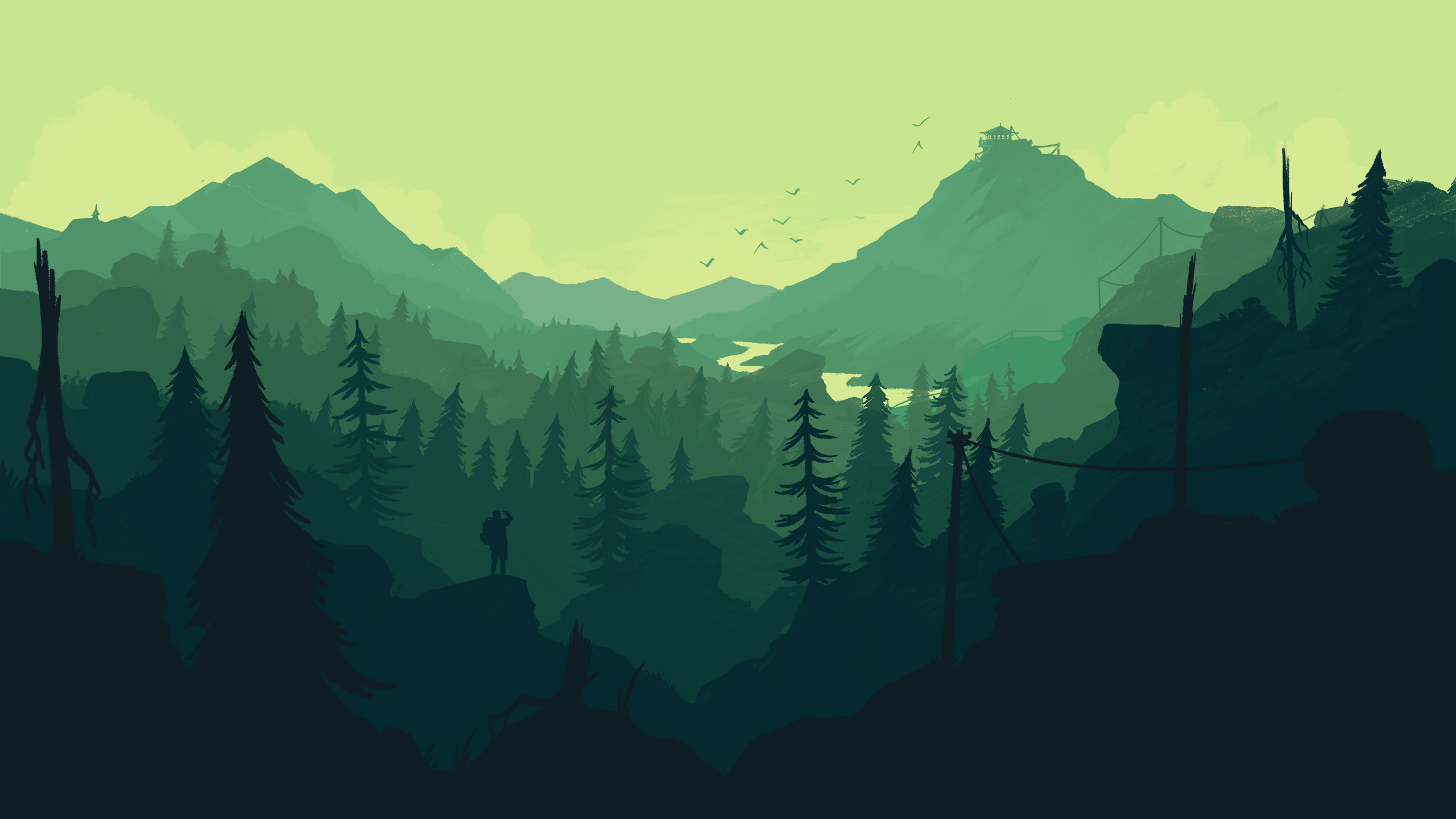 Res: 2560x1440, Forest Minimal Download Wallpaper HD