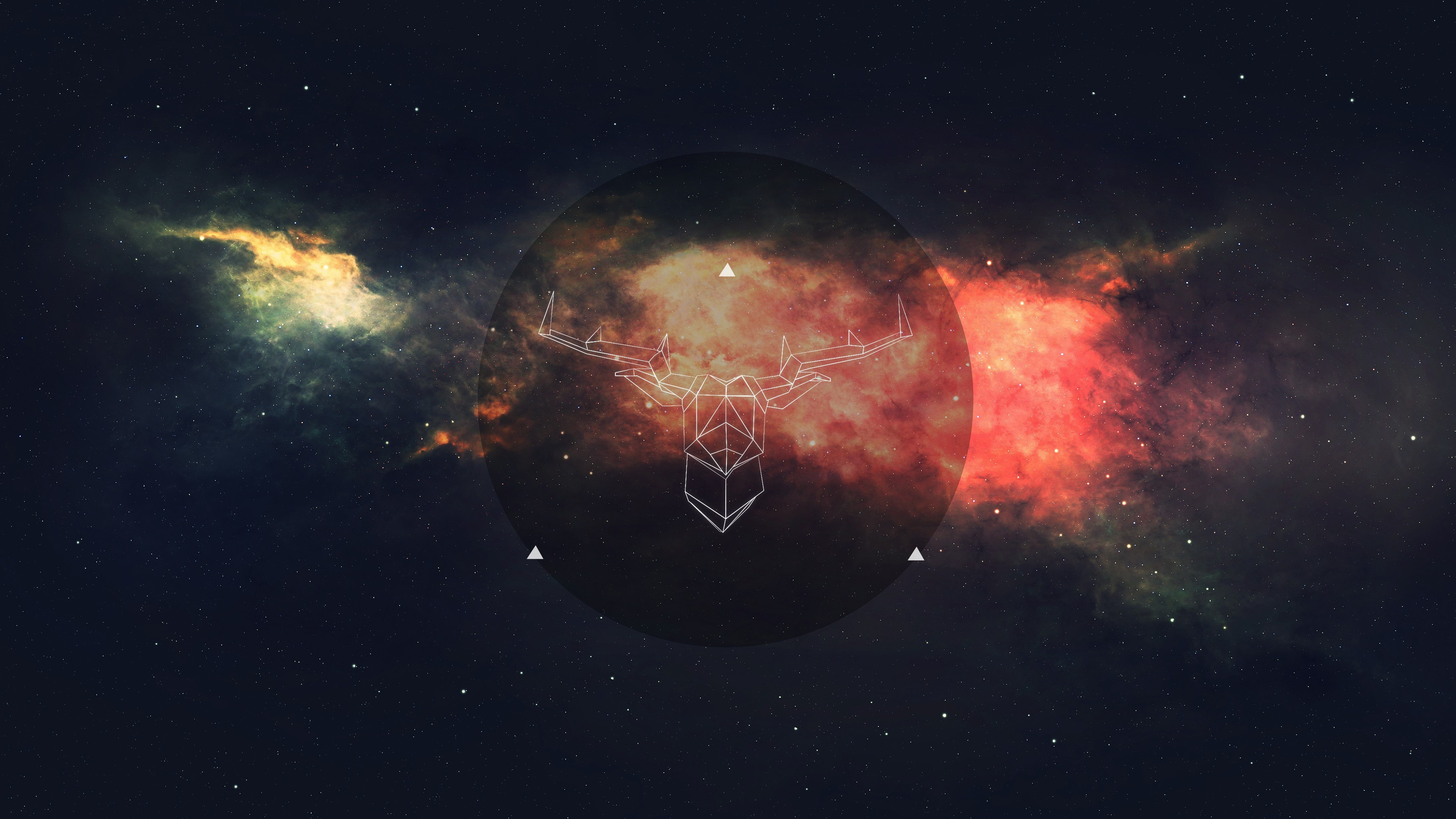 Res: 3840x2160, space, Wireframe, Deer, Minimalism Wallpapers HD / Desktop and Mobile  Backgrounds