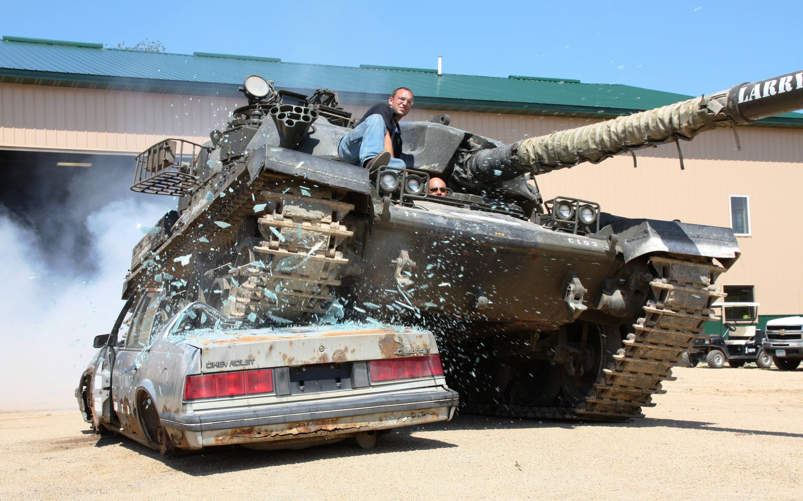 Res: 2560x1600, Military - Tank Destruction Car Humor Funny Wallpaper