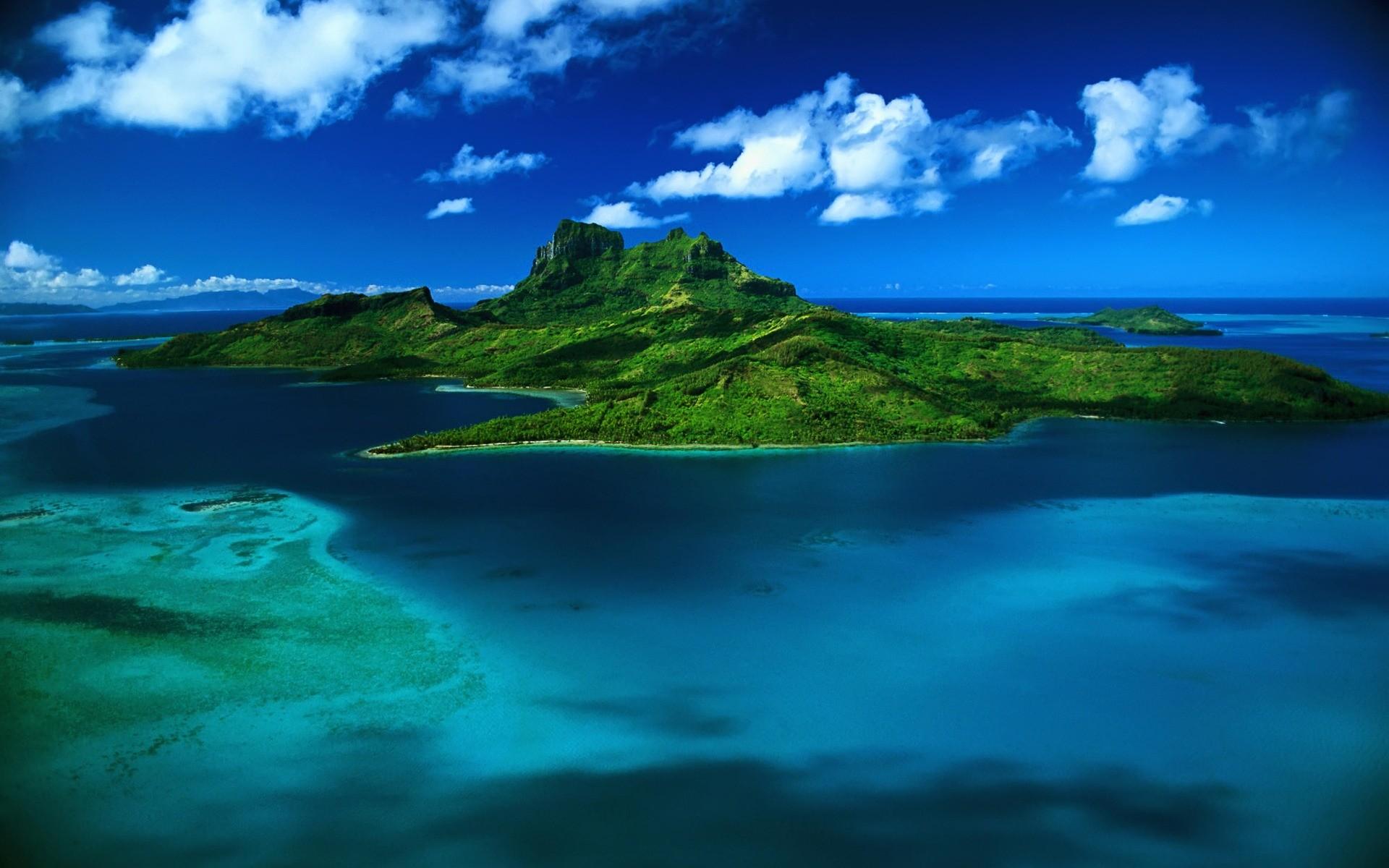 Res: 1920x1200, Bora Bora aerial view Wallpaper Landscape Nature Wallpapers
