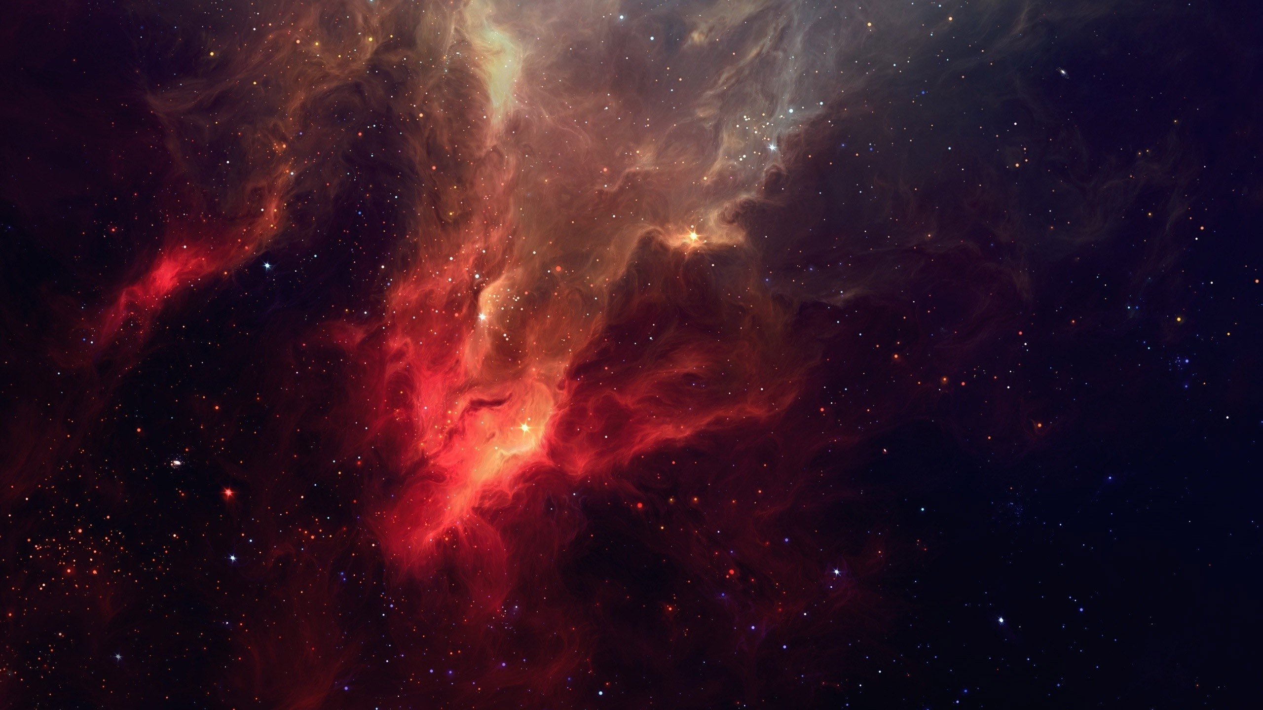 Res: 2560x1440, Red nebula space hd wallpaper .