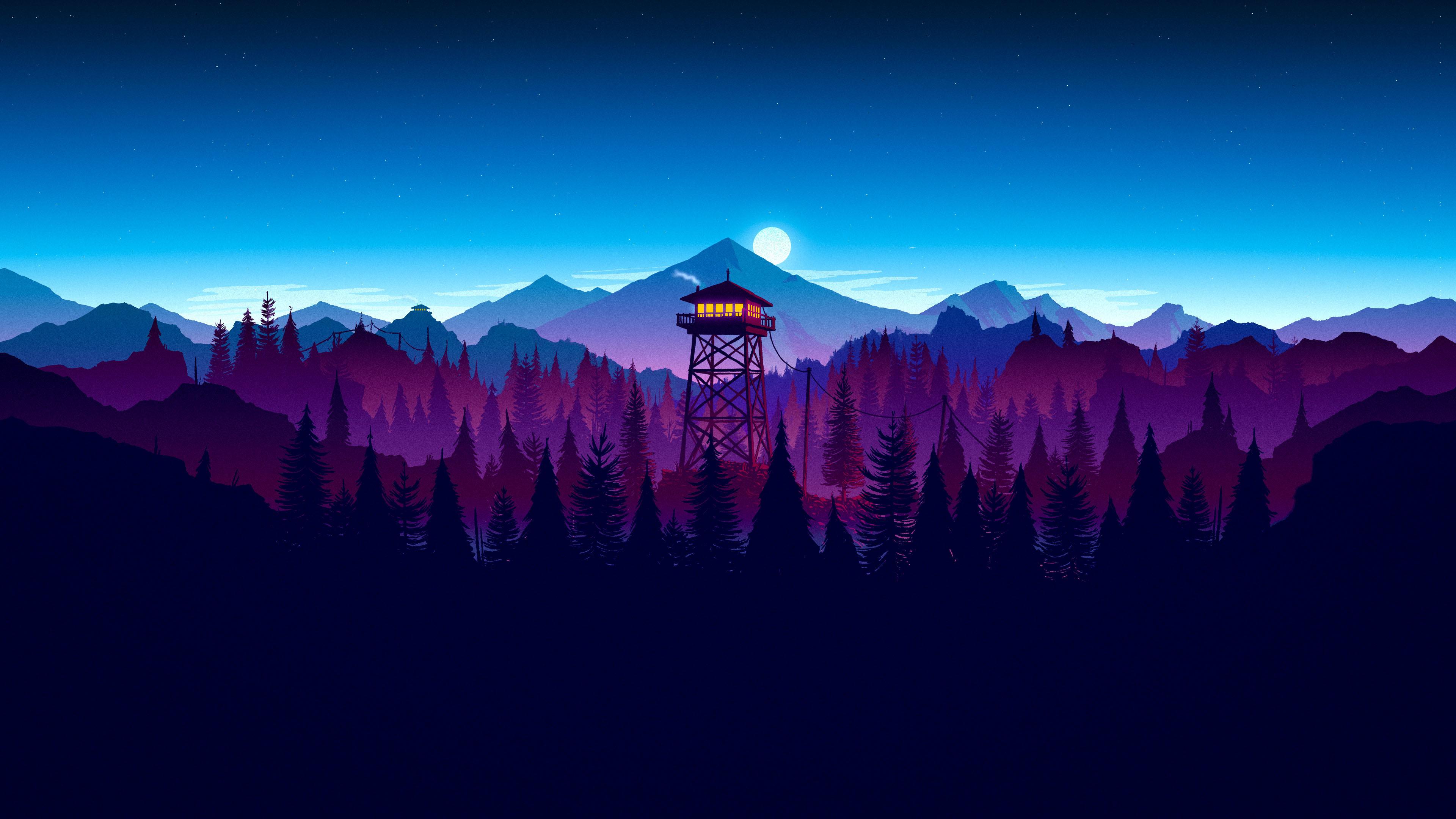 Res: 3840x2160, Firewatch Night Widescreen Wallpaper 59155
